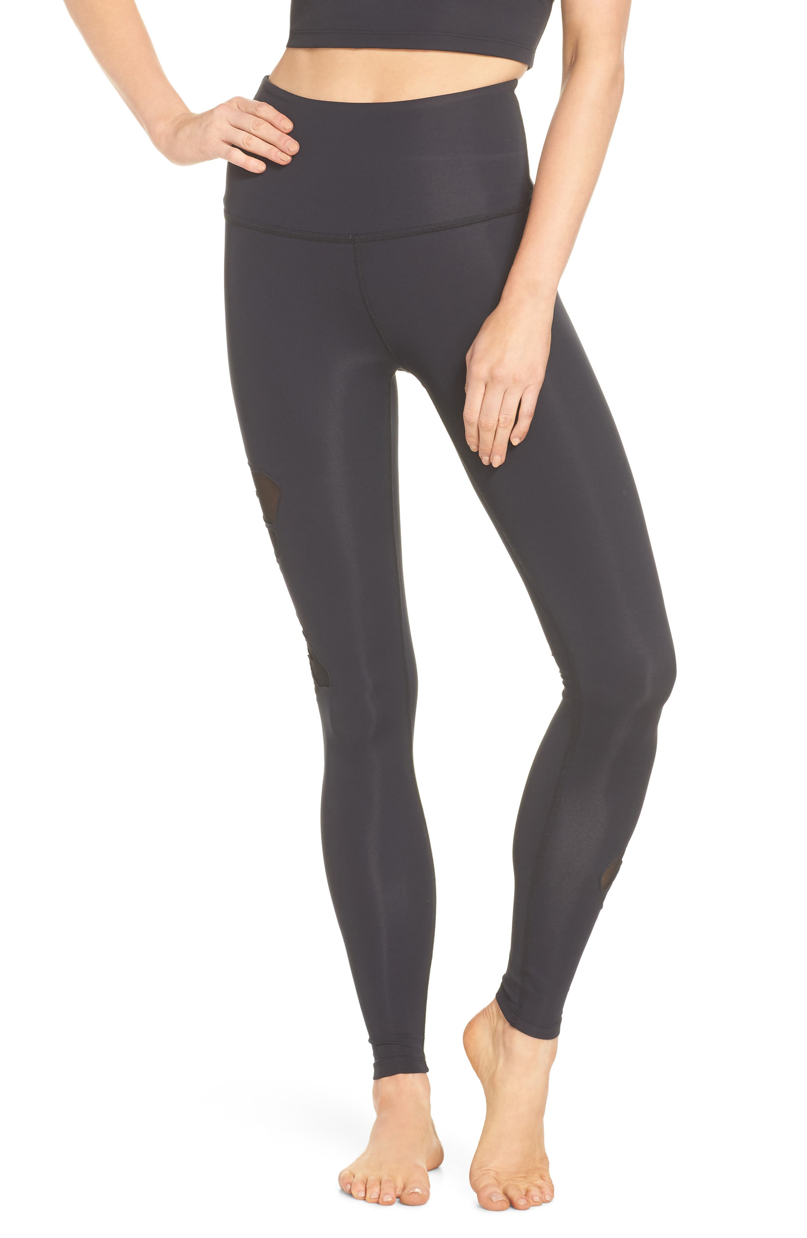 Take Leaf High Waist Leggings,                             Main thumbnail 1, color,                             Black