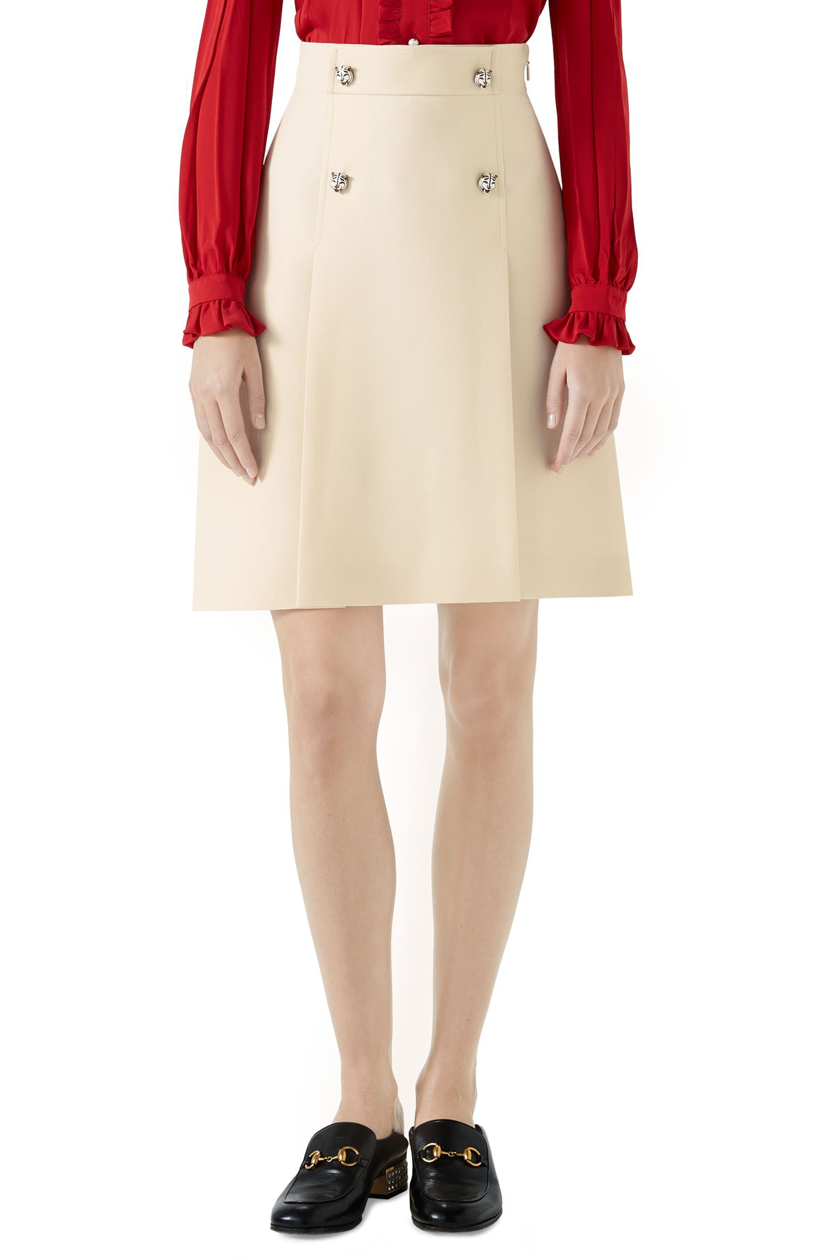 Tiger Button Wool & Silk Crepe A-Line Skirt,                         Main,                         color, Gardenia