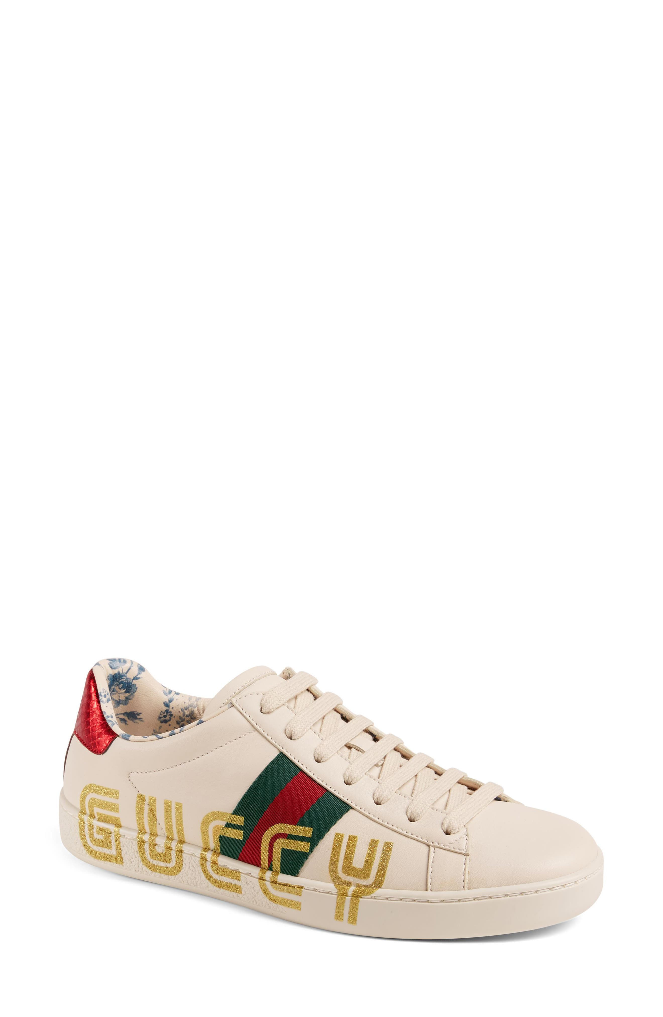 New Ace Guccy Logo Sneaker with Genuine Snakeskin Trim,                             Main thumbnail 1, color,                             White