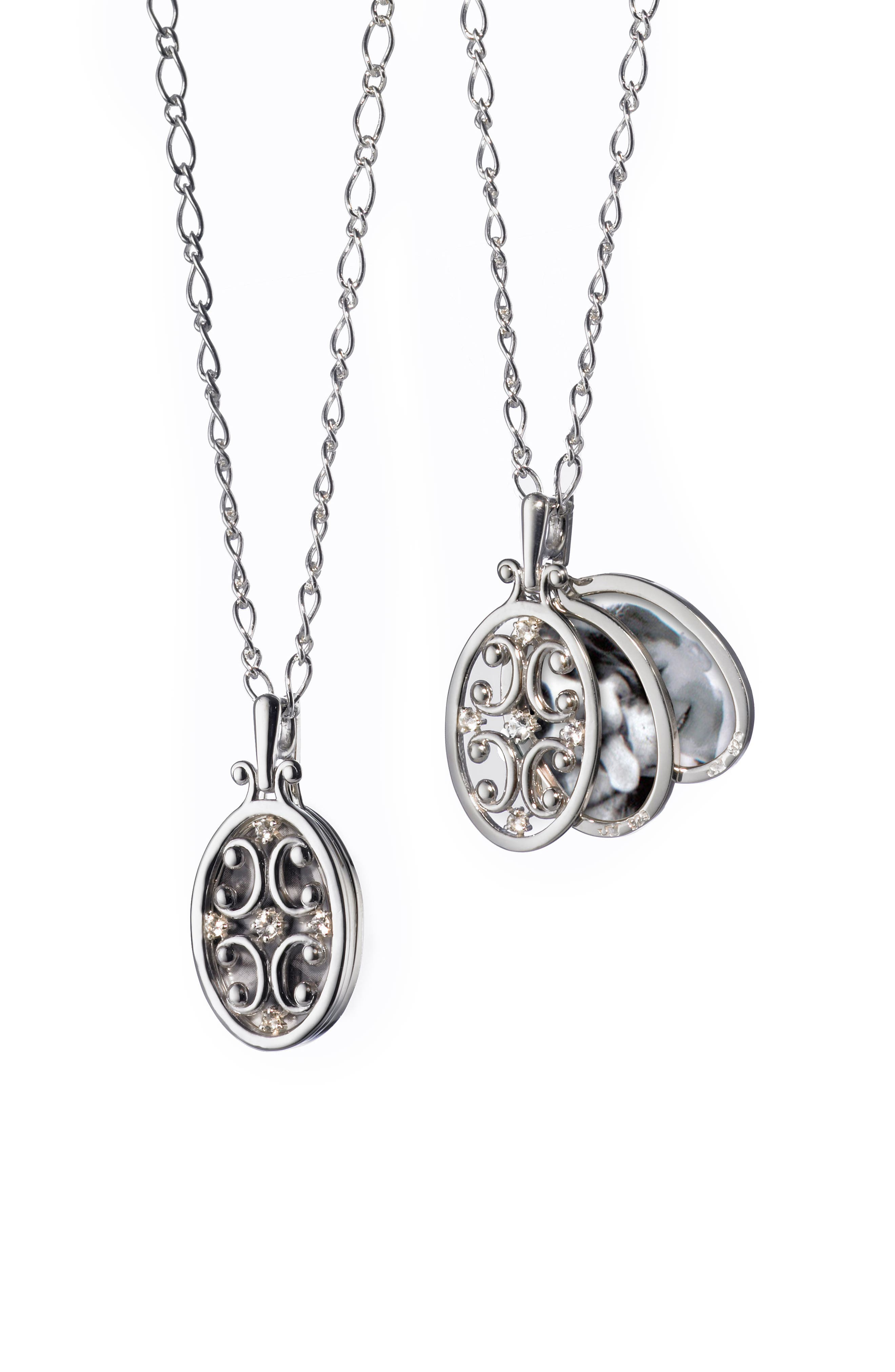 Scrollwork Locket Necklace,                         Main,                         color, Sterling Silver