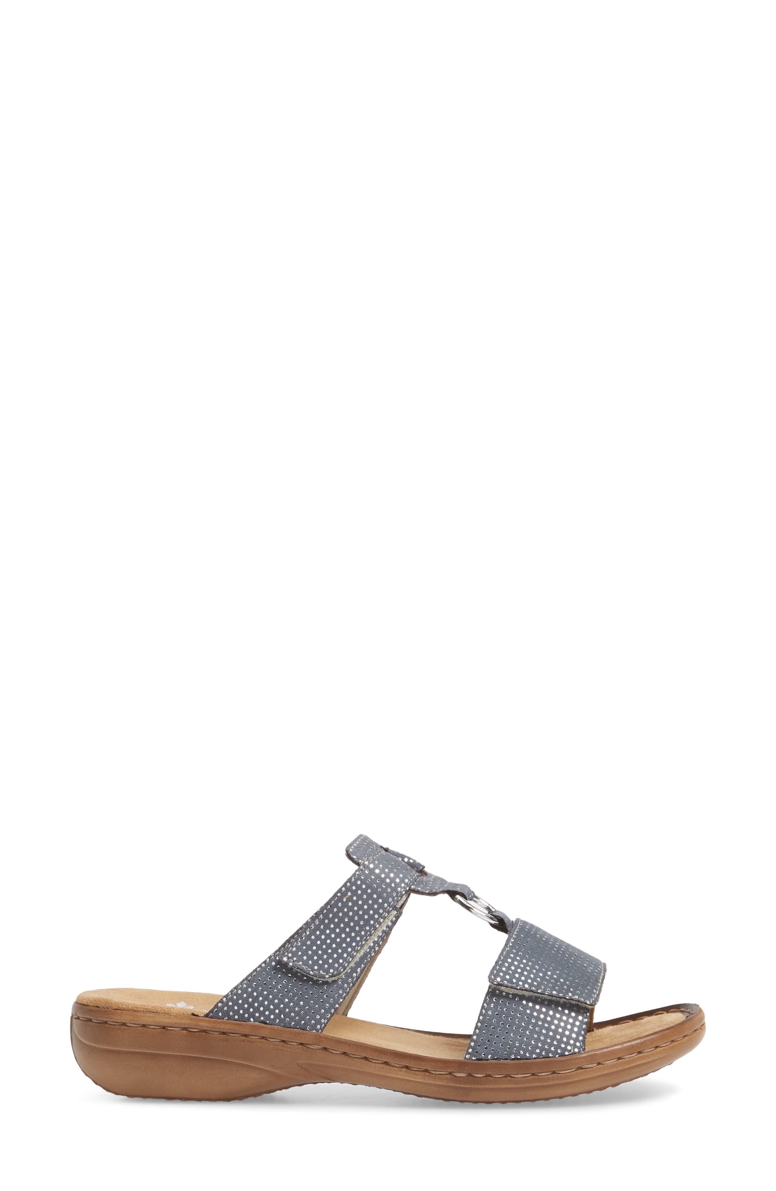 Regina P9 Slide Sandal,                             Alternate thumbnail 3, color,                             White Denim Fabric