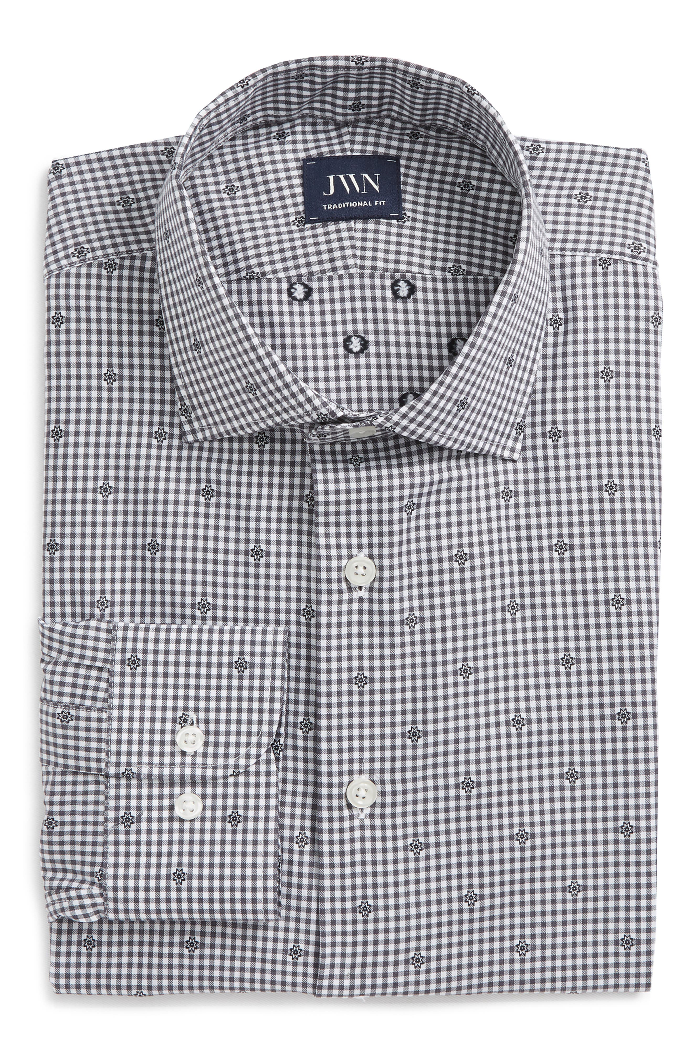 Traditional Fit Check Dress Shirt,                             Alternate thumbnail 6, color,                             Grey Onyx