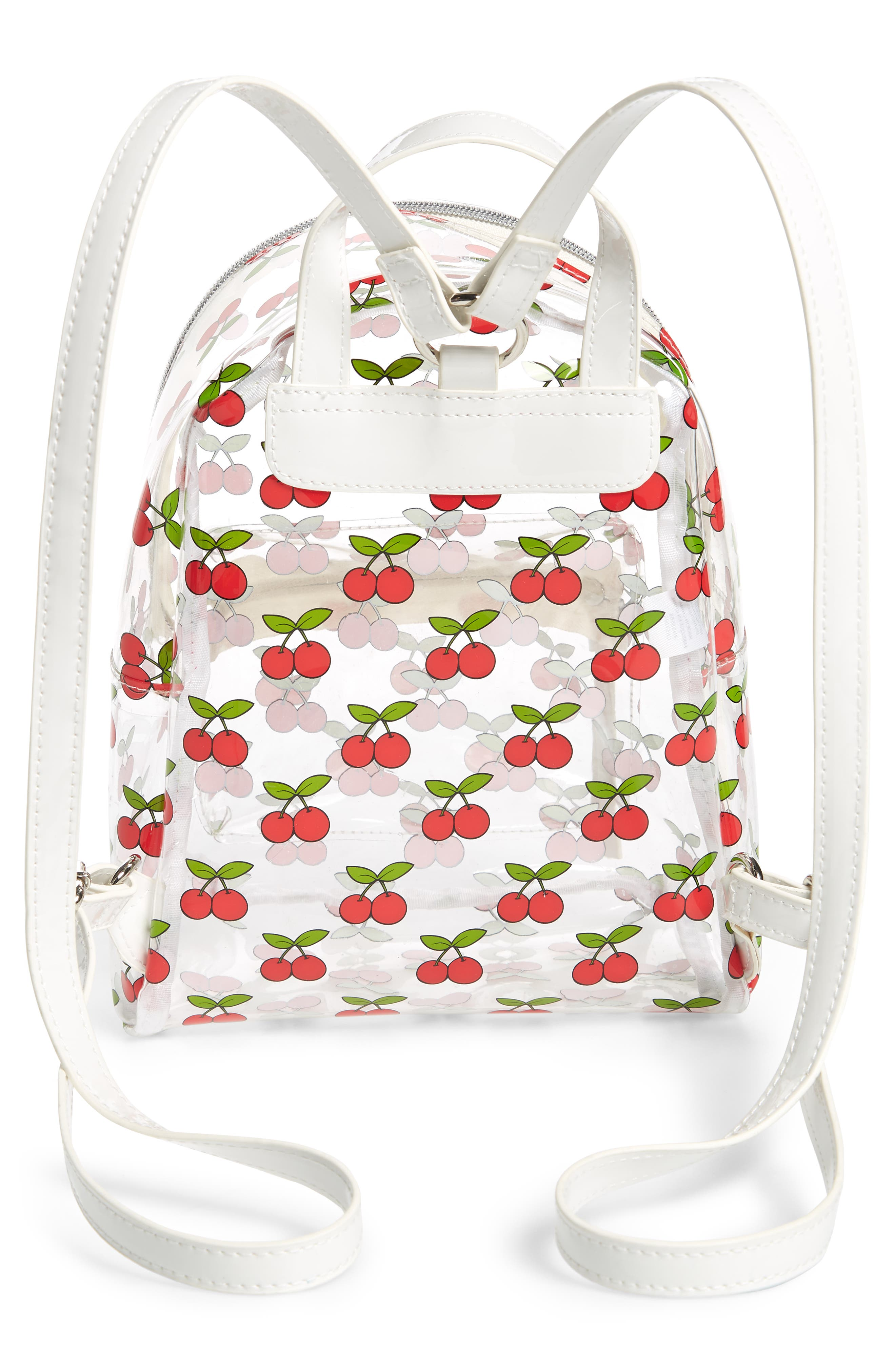 Transparent Cherry Print Mini Convertible Backpack,                             Alternate thumbnail 3, color,                             Clear/ Red