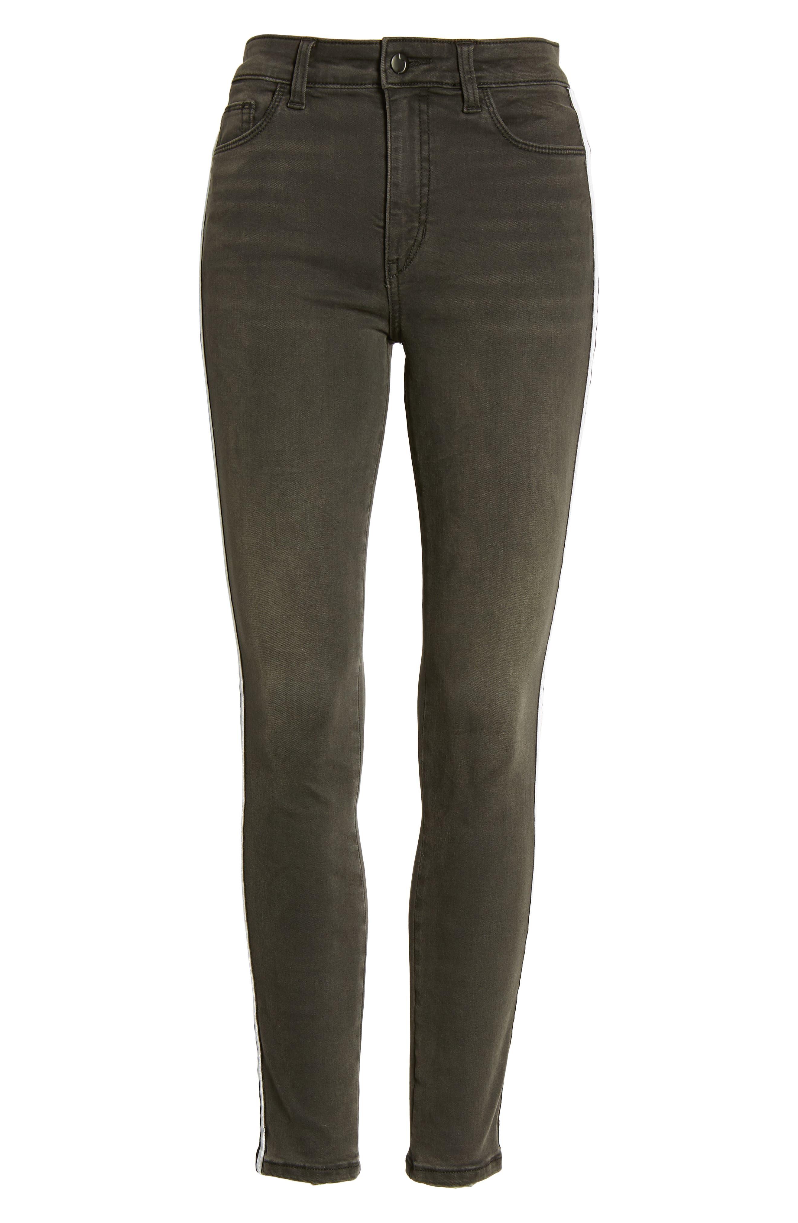 Charlie Velvet Stripe Ankle Skinny Jeans,                             Alternate thumbnail 7, color,                             Ashley