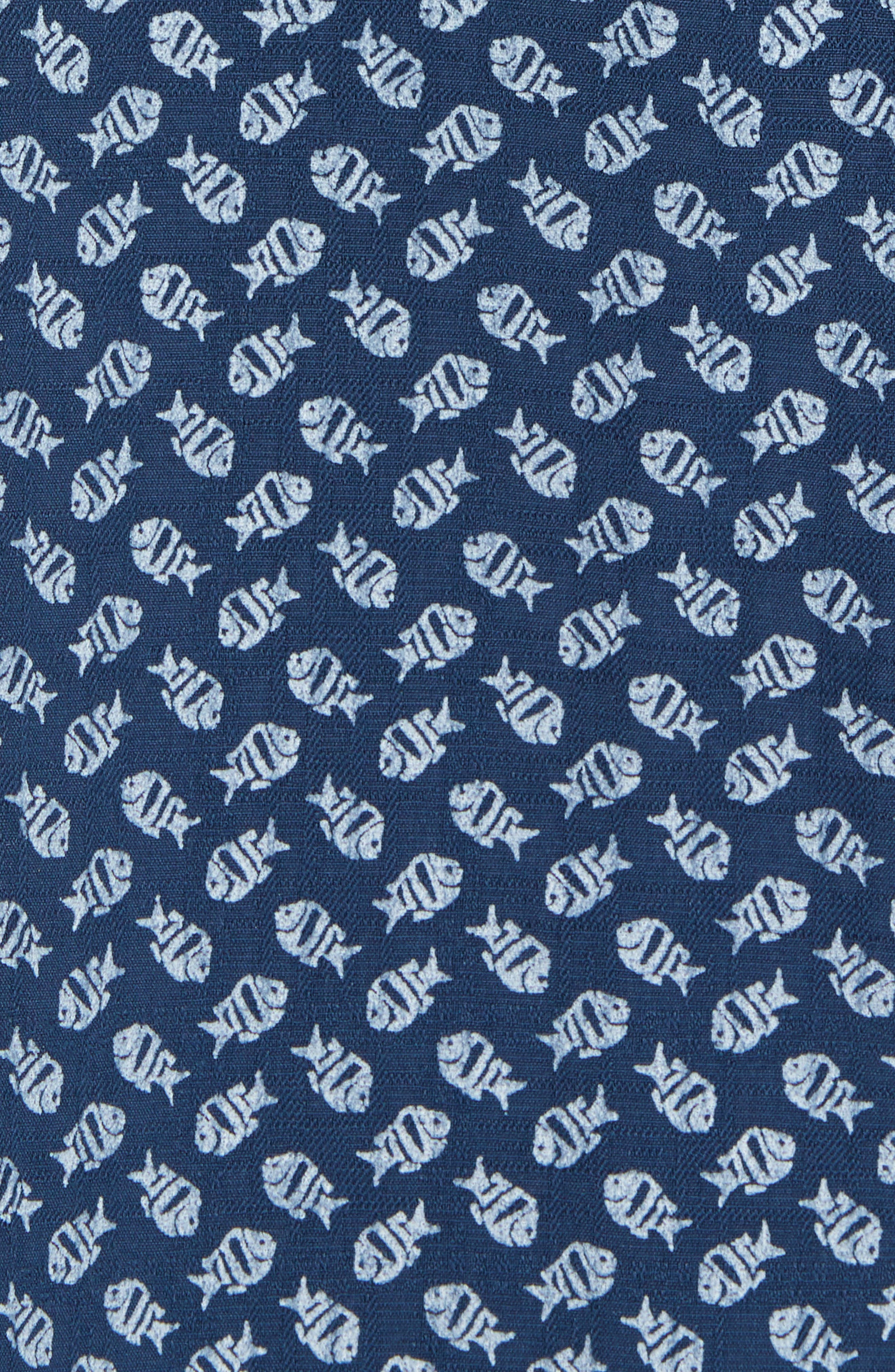 A-fish-ianado Cotton & Silk Camp Shirt,                             Alternate thumbnail 5, color,                             Ocean Deep