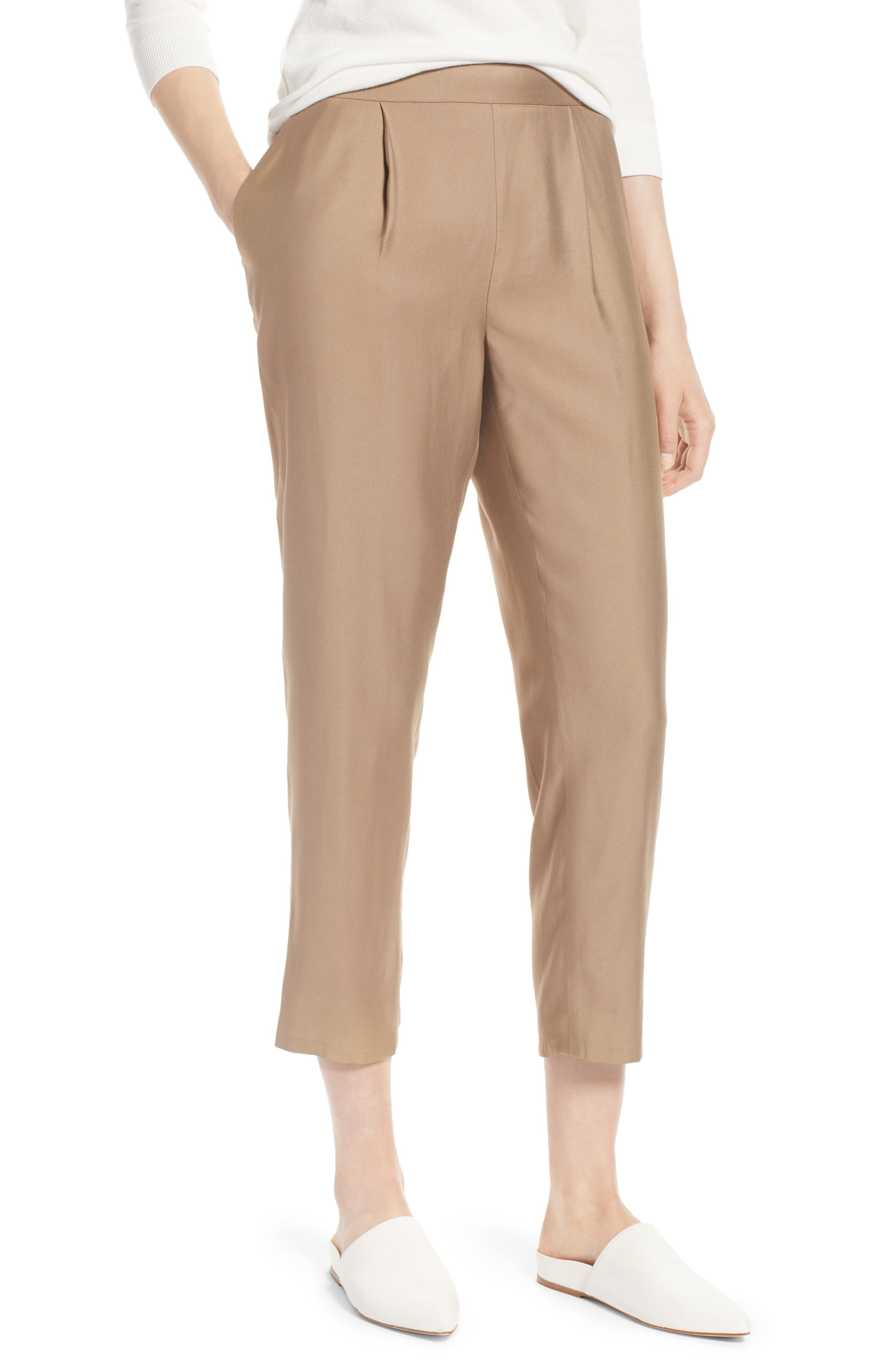 Pull-On Ankle Pants,                             Main thumbnail 1, color,                             Tan Greige