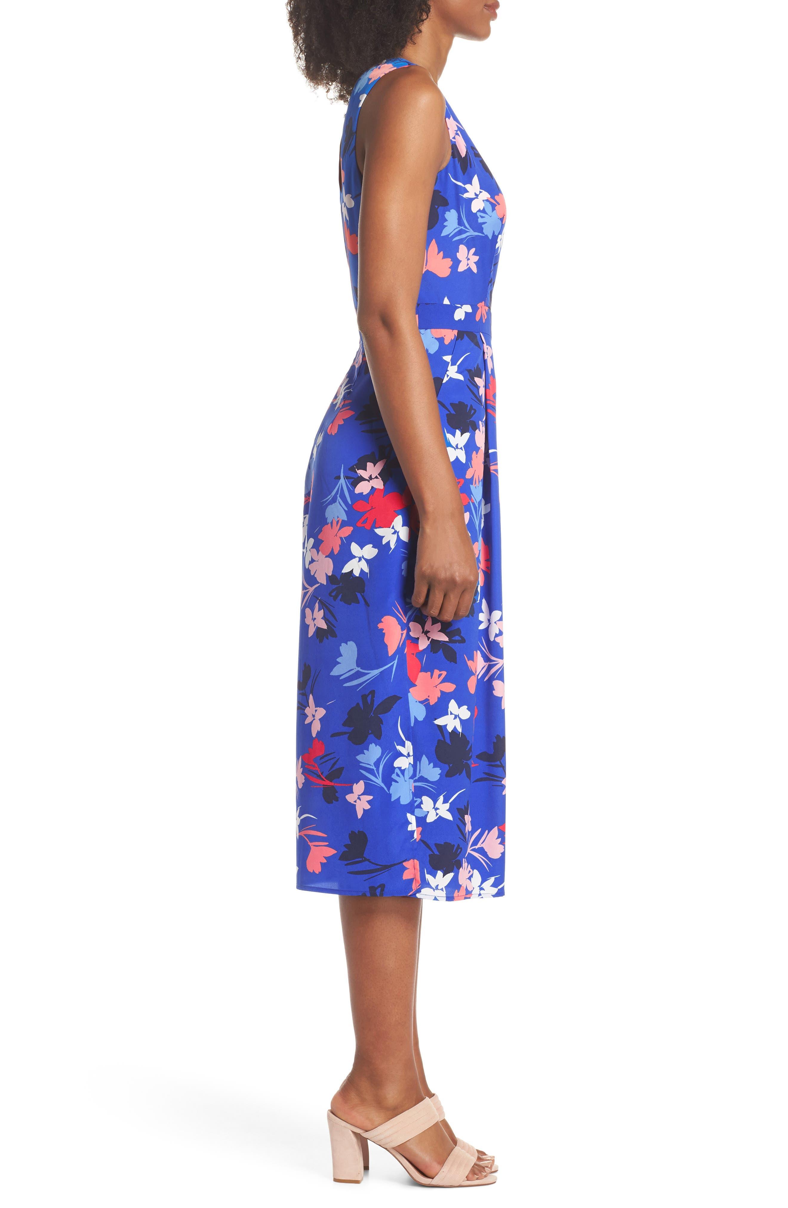 Floral Print Crop Jumpsuit,                             Alternate thumbnail 3, color,                             Blue/ Pink
