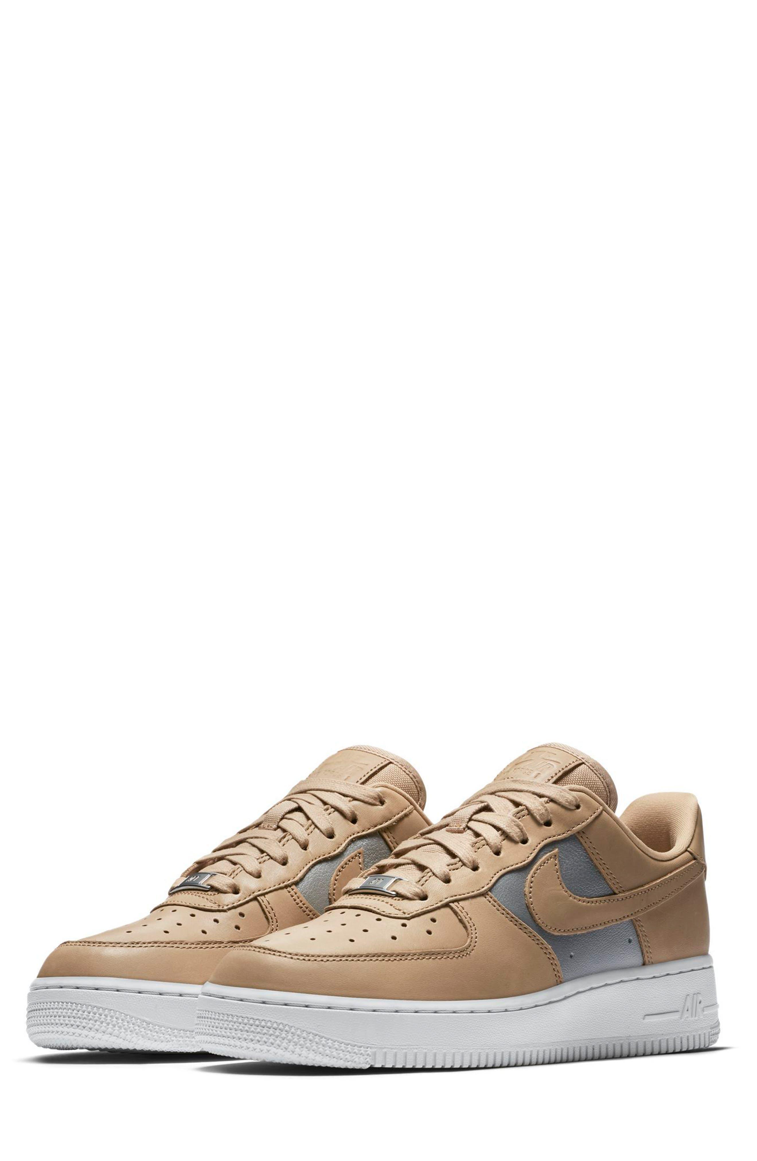 Air Force 1 '07 SE Premium Sneaker,                             Main thumbnail 1, color,                             Beige/ Silver/ White