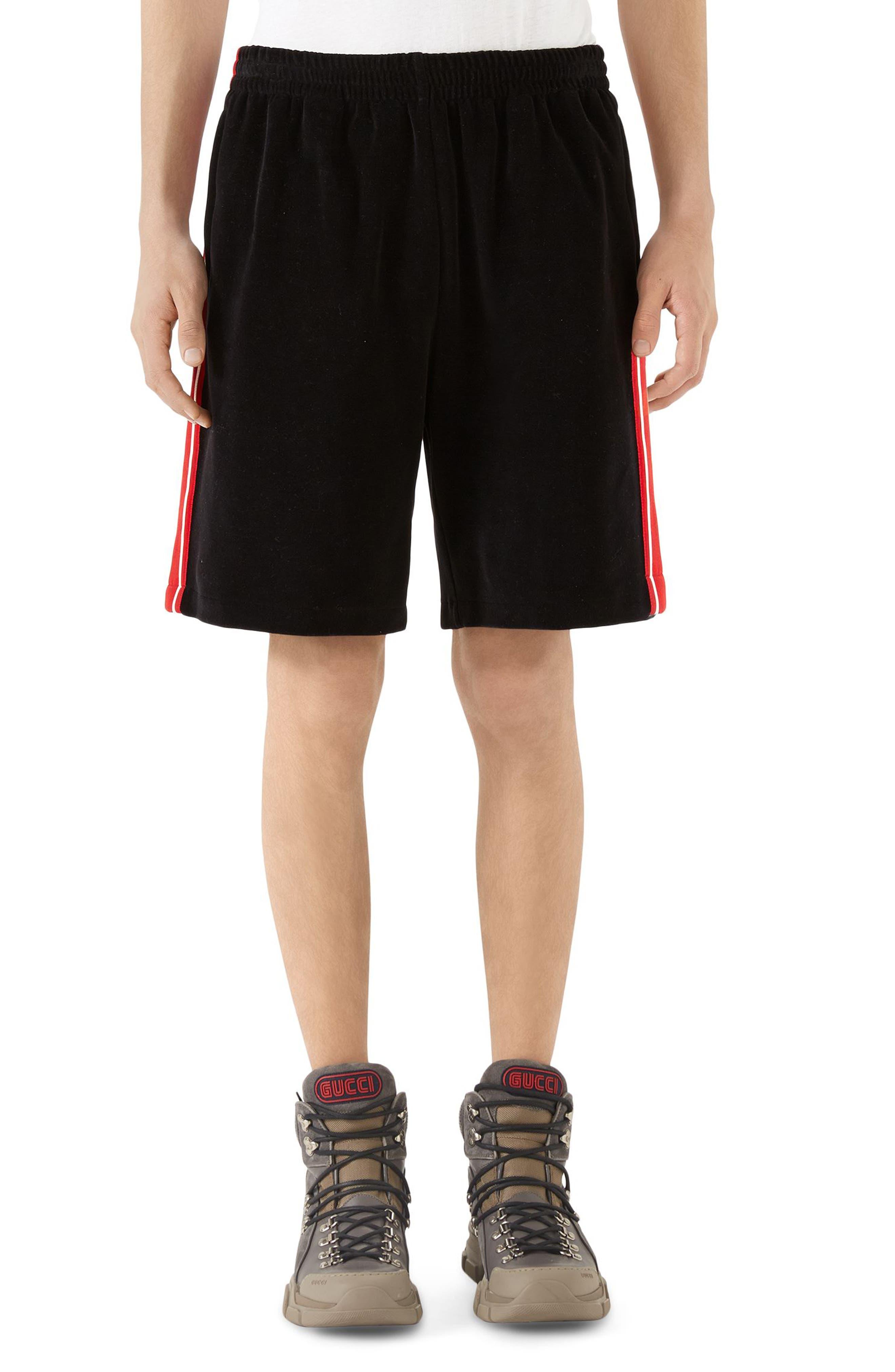 Chenille Jersey Shorts,                             Main thumbnail 1, color,                             Black
