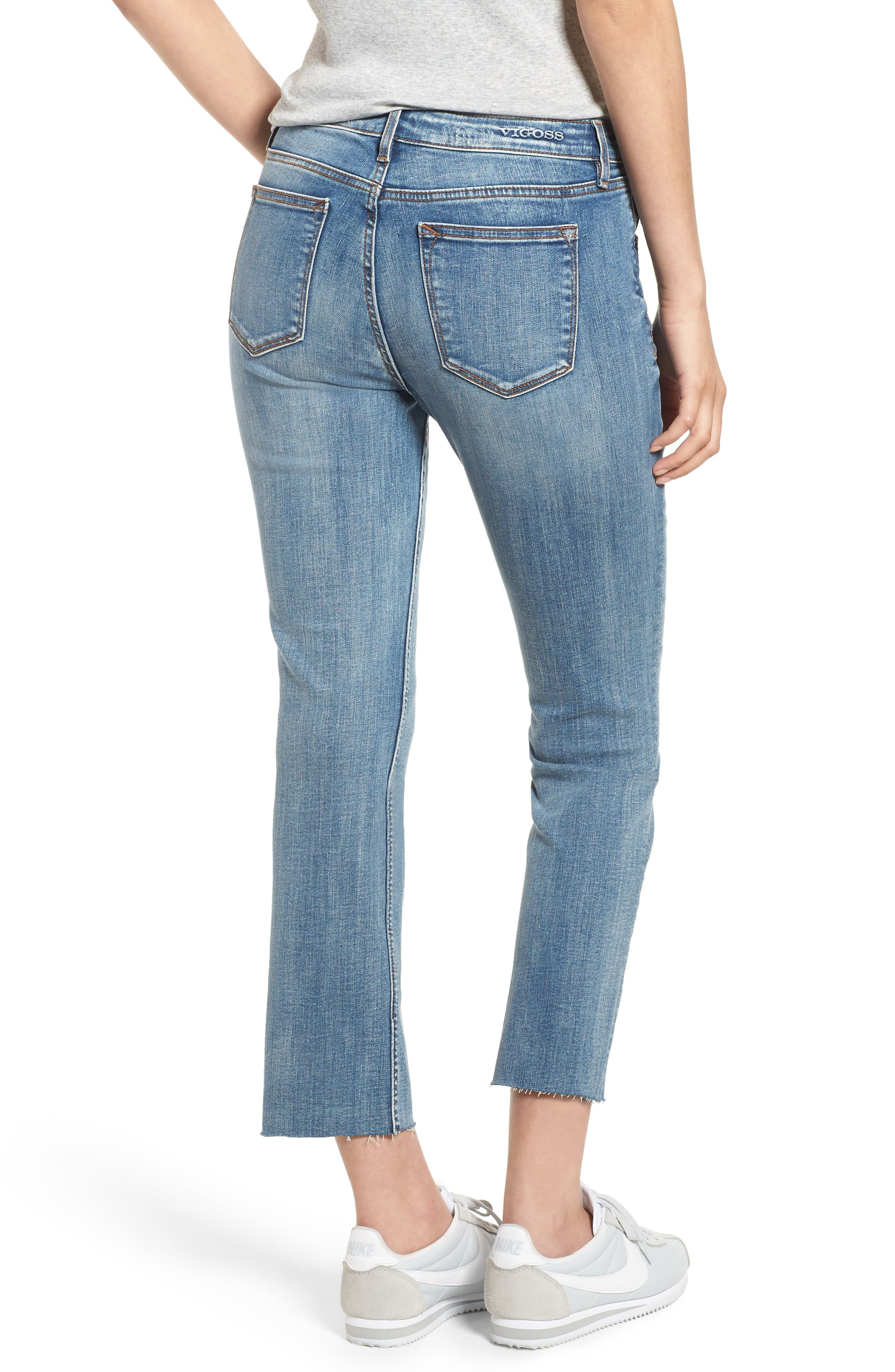 Jagger Crop Straight Leg Jeans,                             Alternate thumbnail 2, color,                             Med Wash