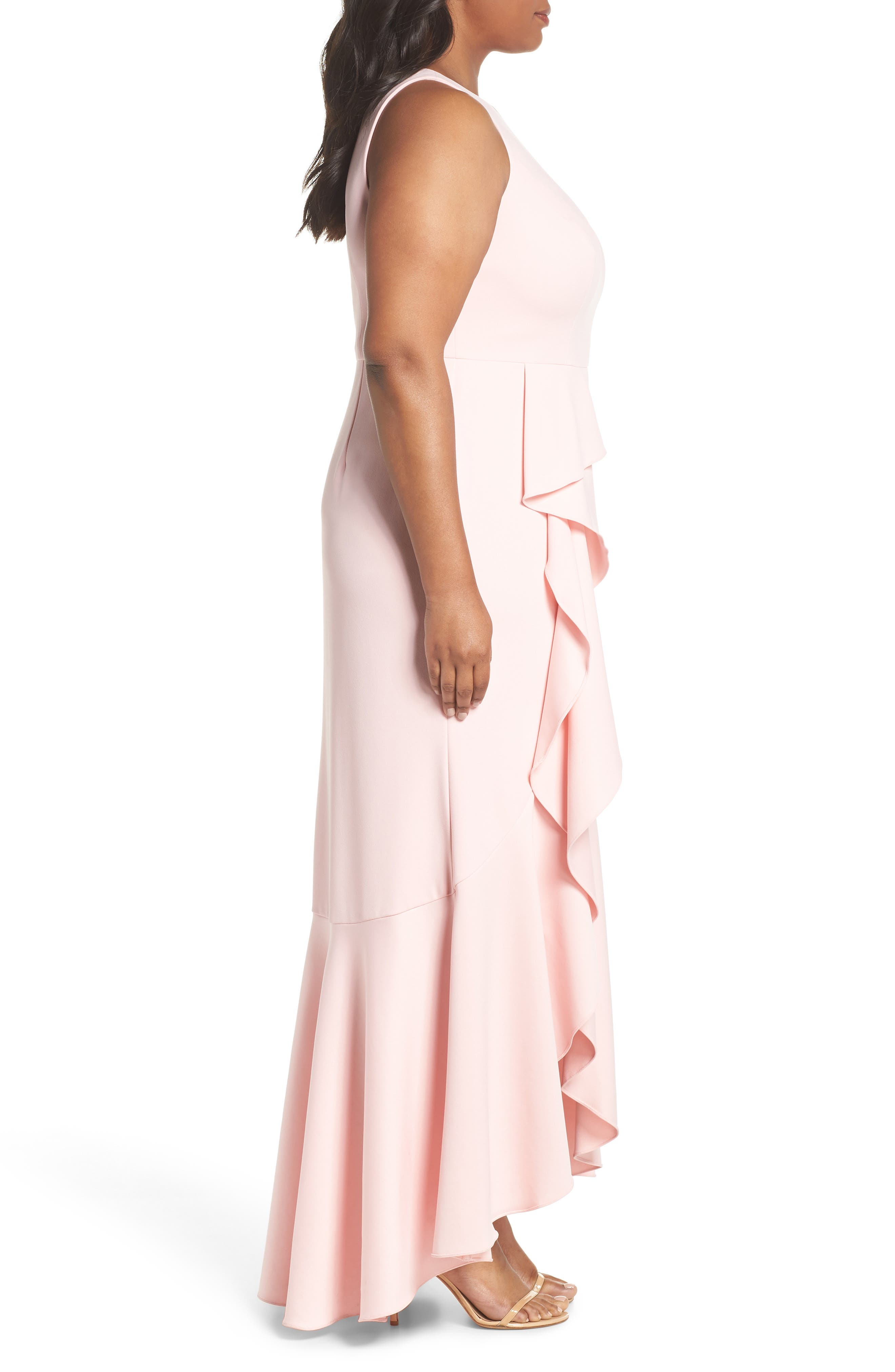 Cascade Crepe Gown,                             Alternate thumbnail 3, color,                             Pale Shell