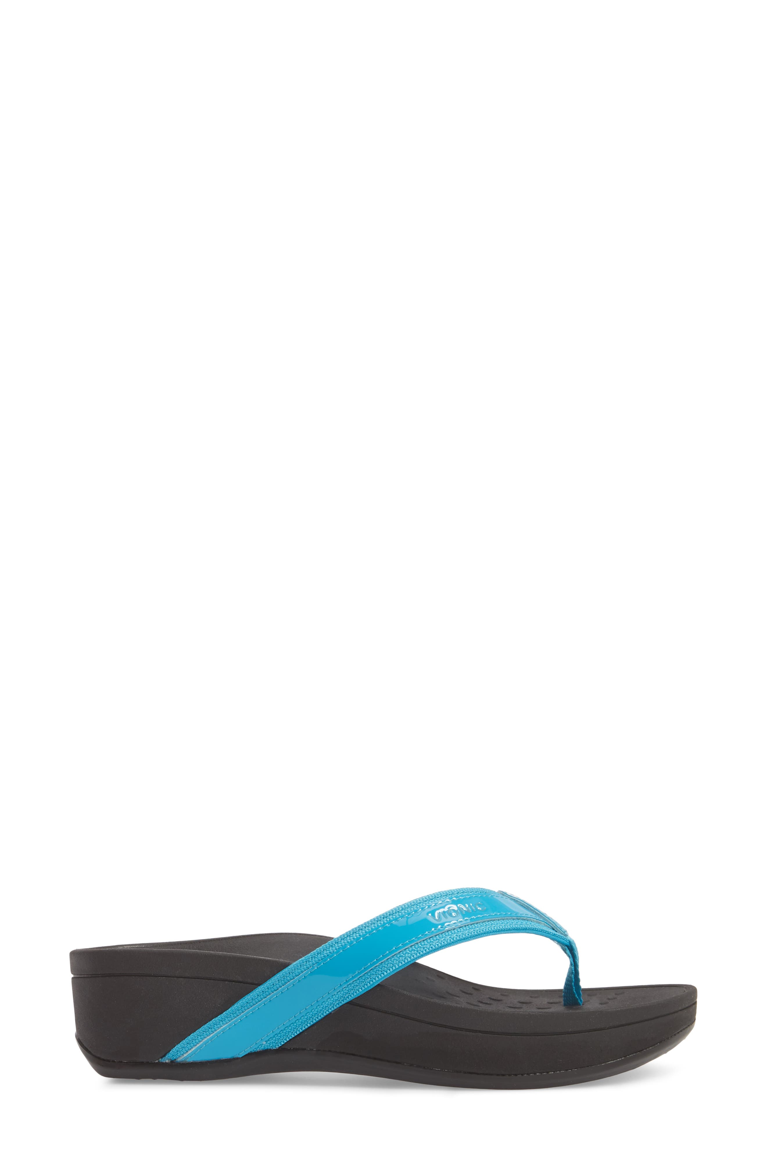 High Tide Wedge Flip Flop,                             Alternate thumbnail 3, color,                             Turquoise Leather