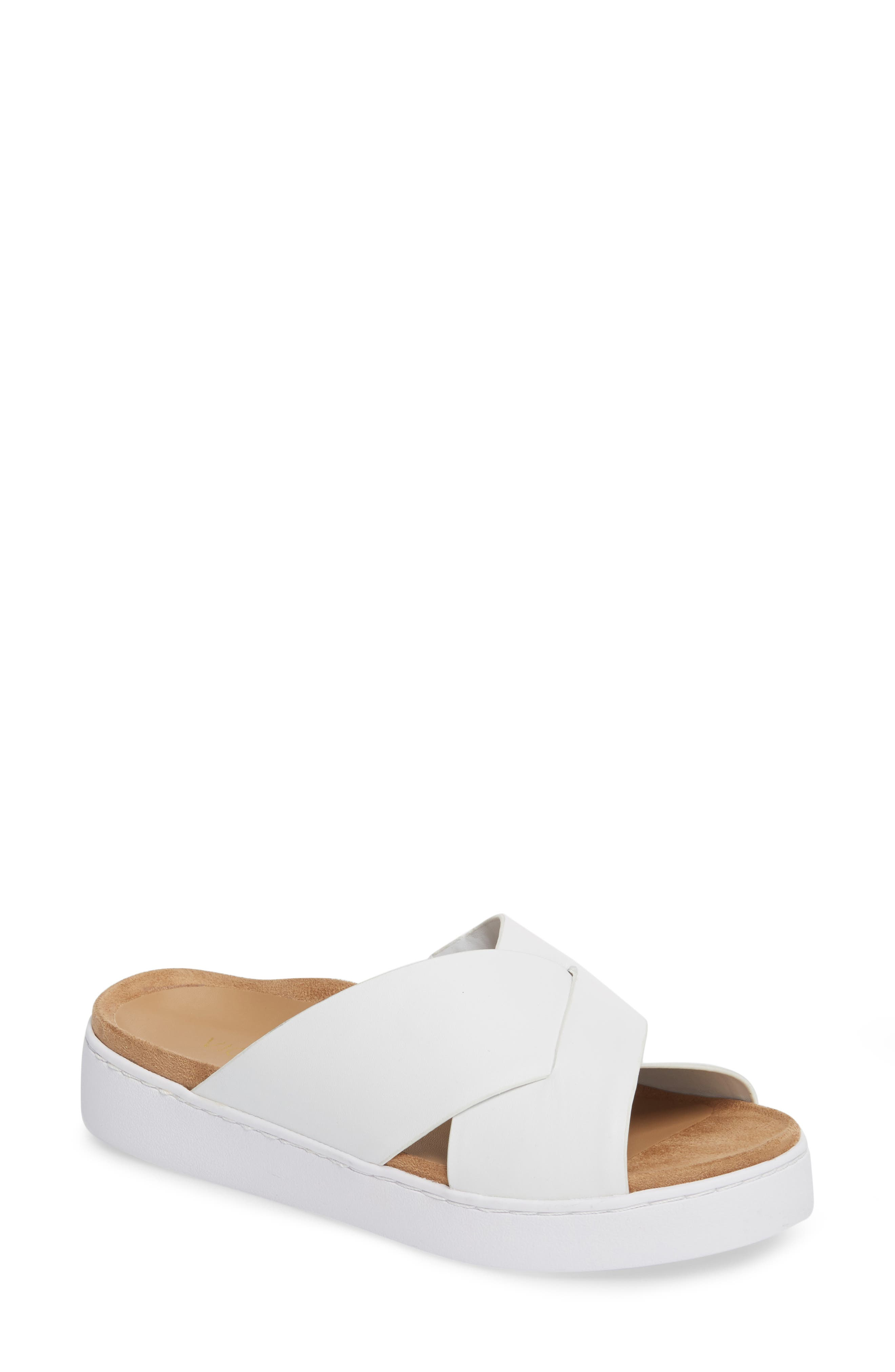 Lou Slide Sandal,                         Main,                         color, White Leather