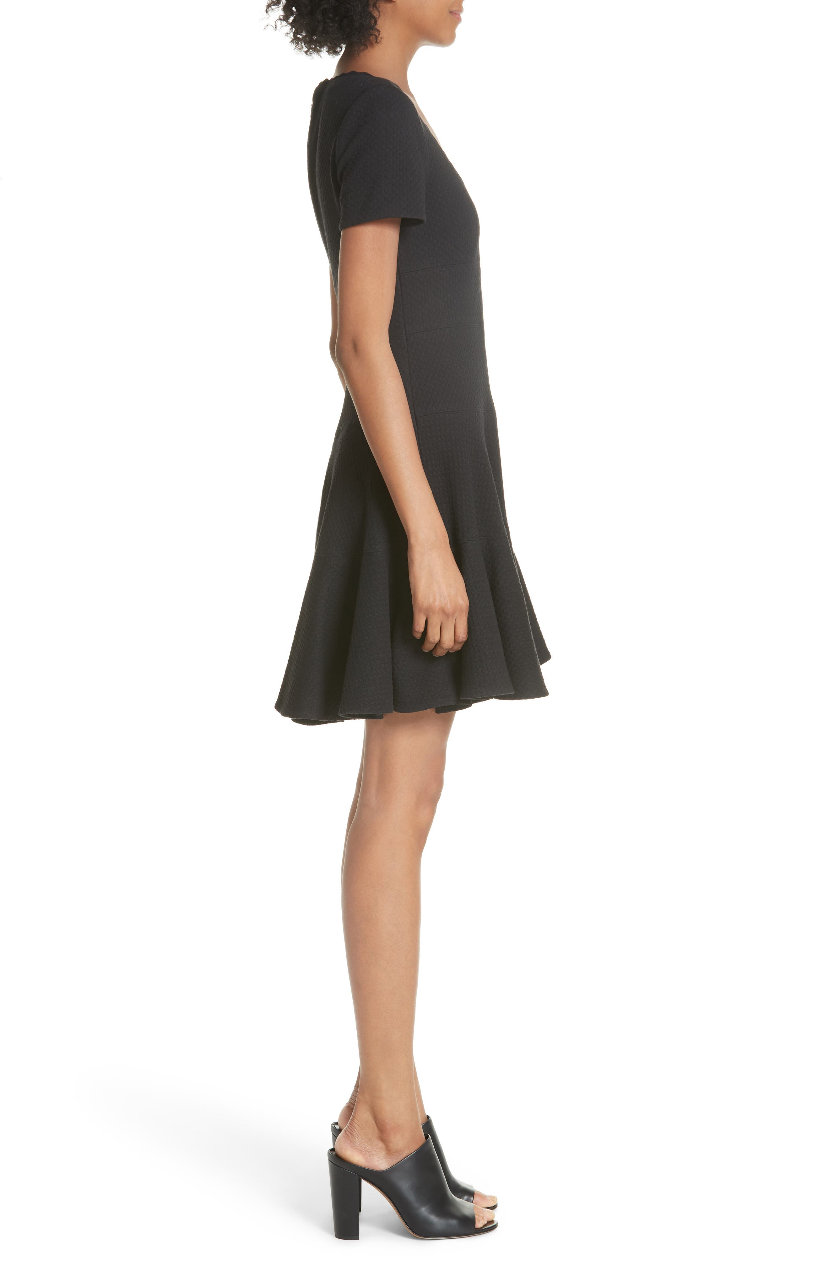 Textured Stretch Cotton Fit & Flare Dress,                             Alternate thumbnail 3, color,                             Black