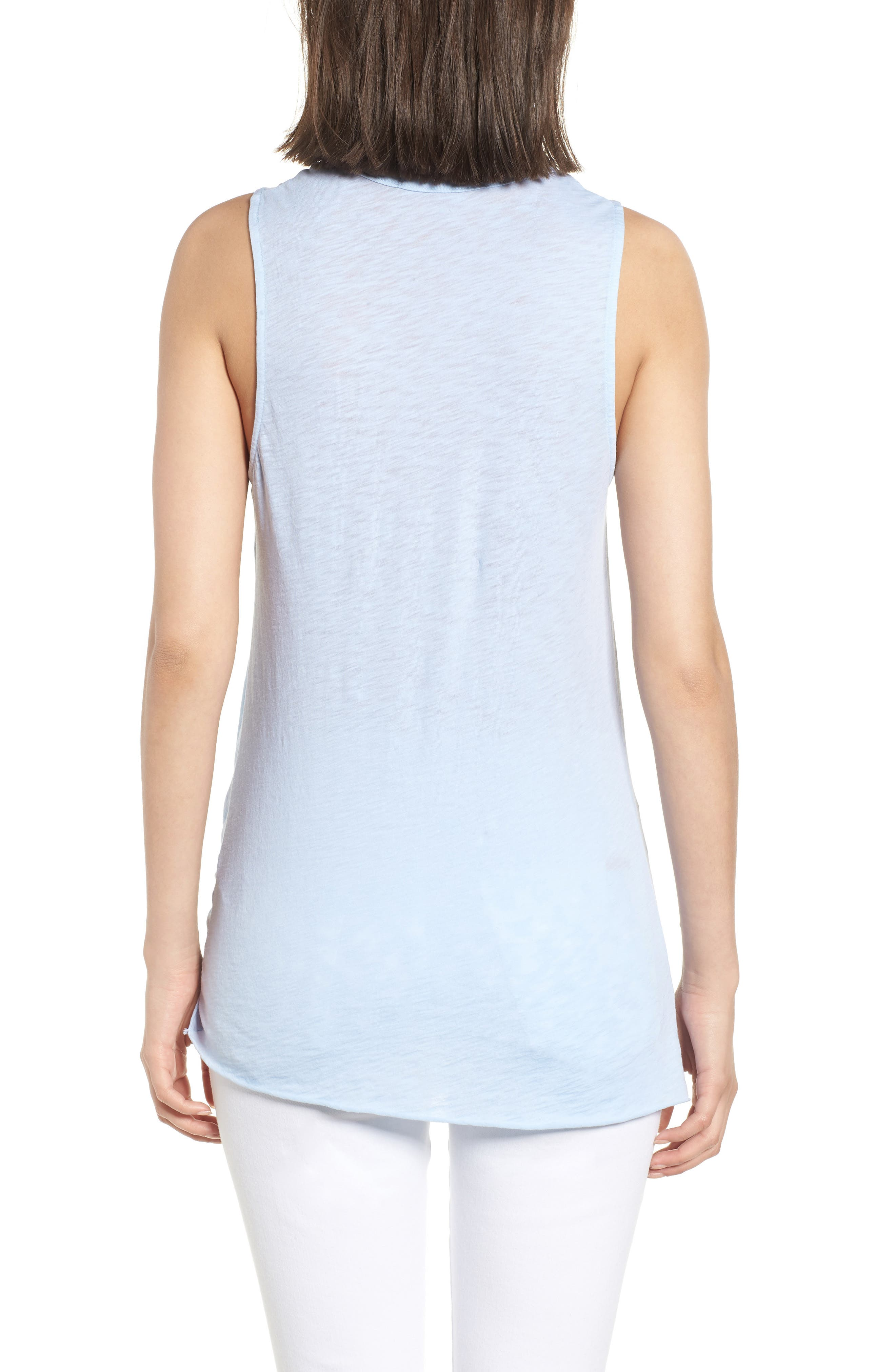 Twist Hem Slub Supima<sup>®</sup> Cotton Tank,                             Alternate thumbnail 2, color,                             Celeste