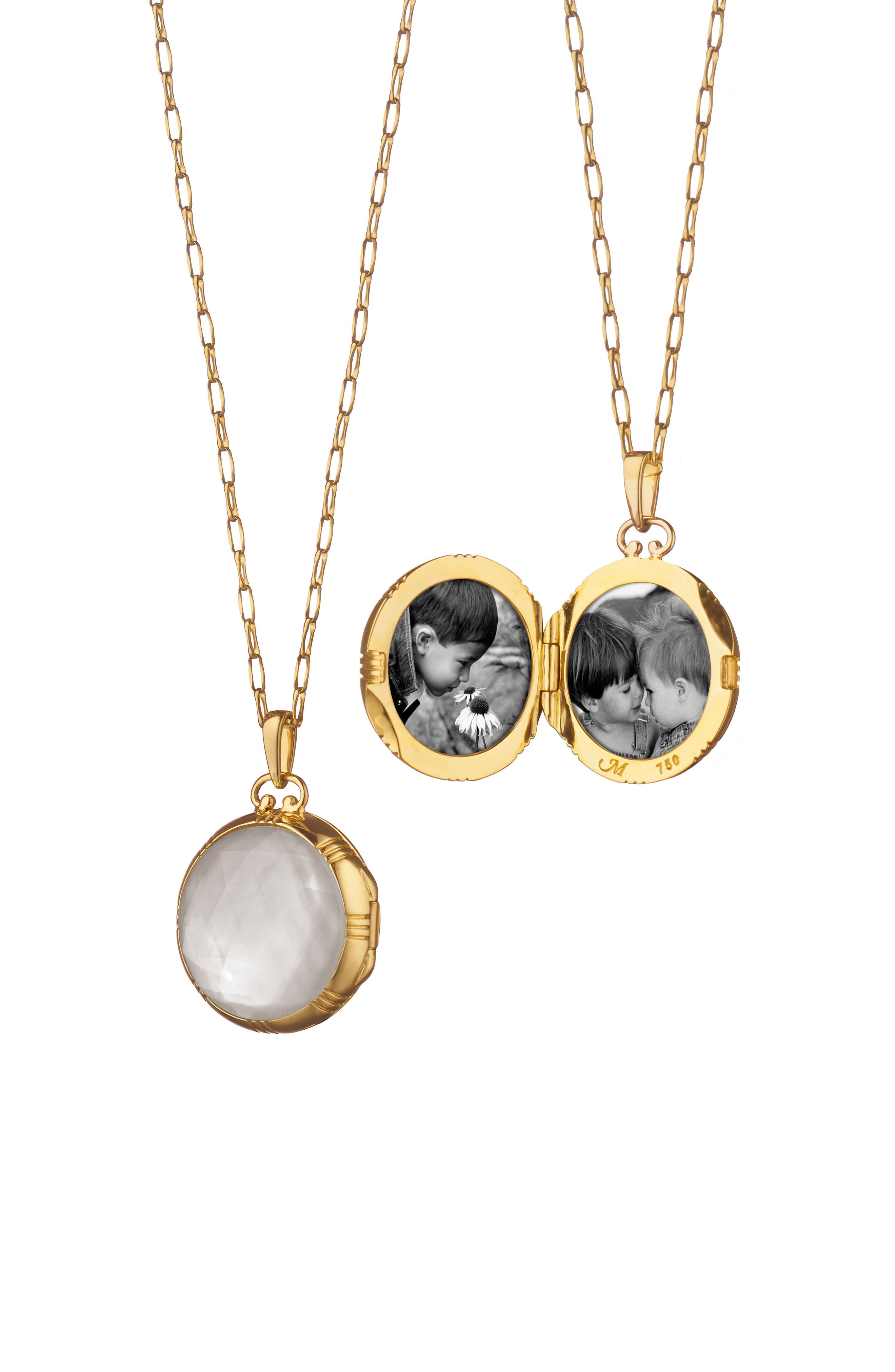 Stone Locket Necklace,                         Main,                         color, 18K Yellow Gold