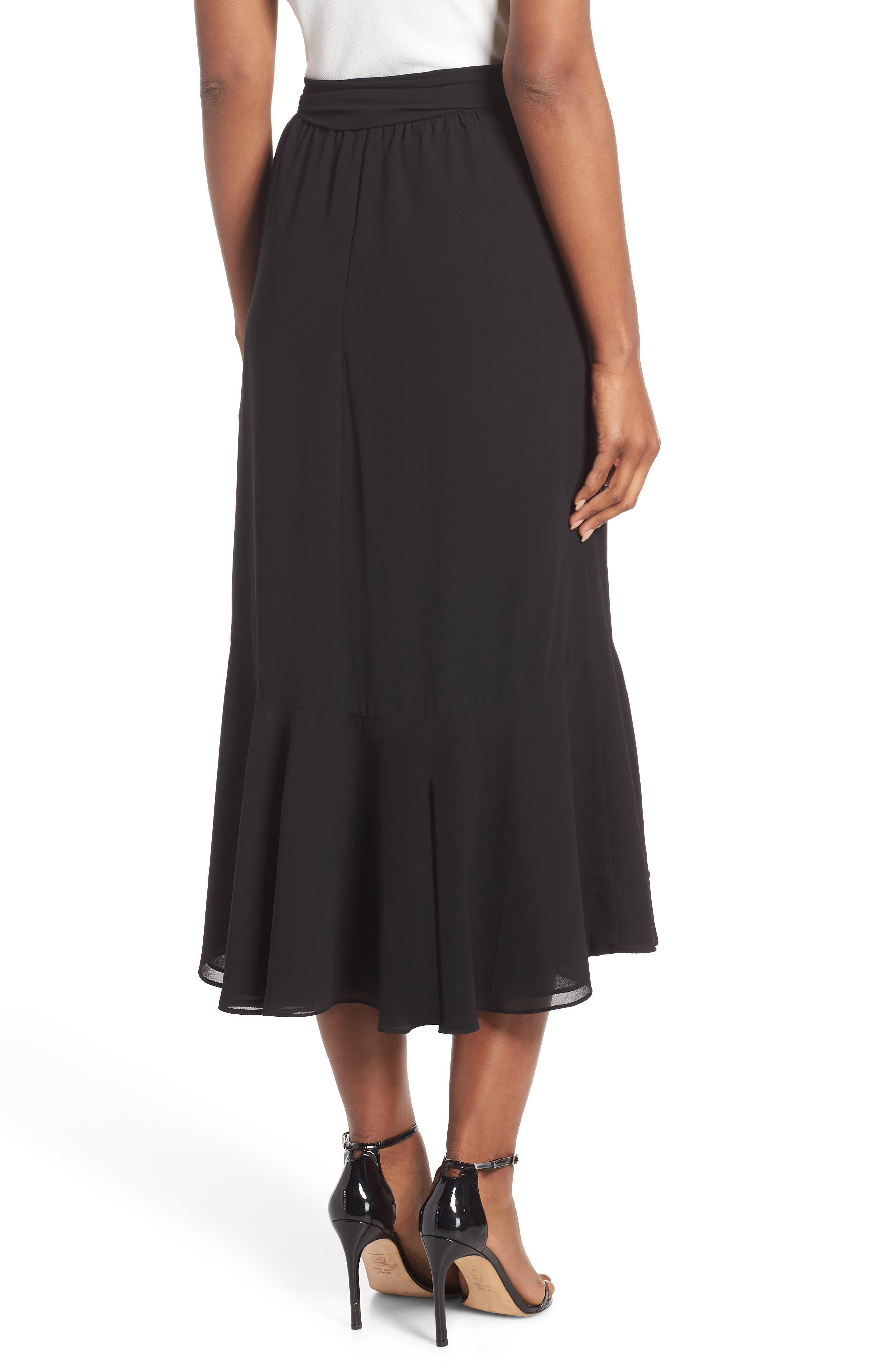 Asymmetrical High/Low Flounce Skirt,                             Alternate thumbnail 2, color,                             Black