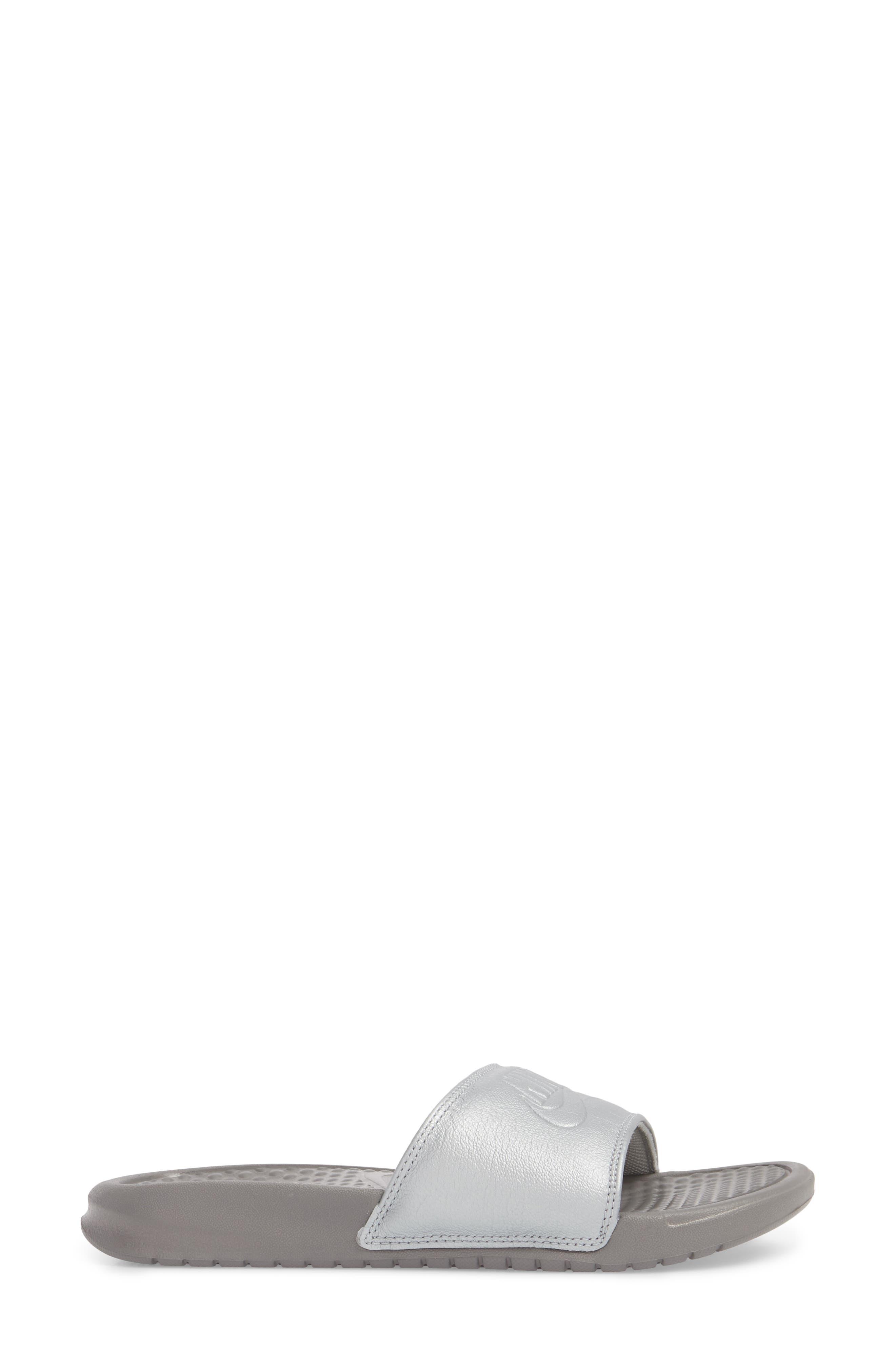 Benassi JDI Sport Slide,                             Alternate thumbnail 3, color,                             Metallic Silver
