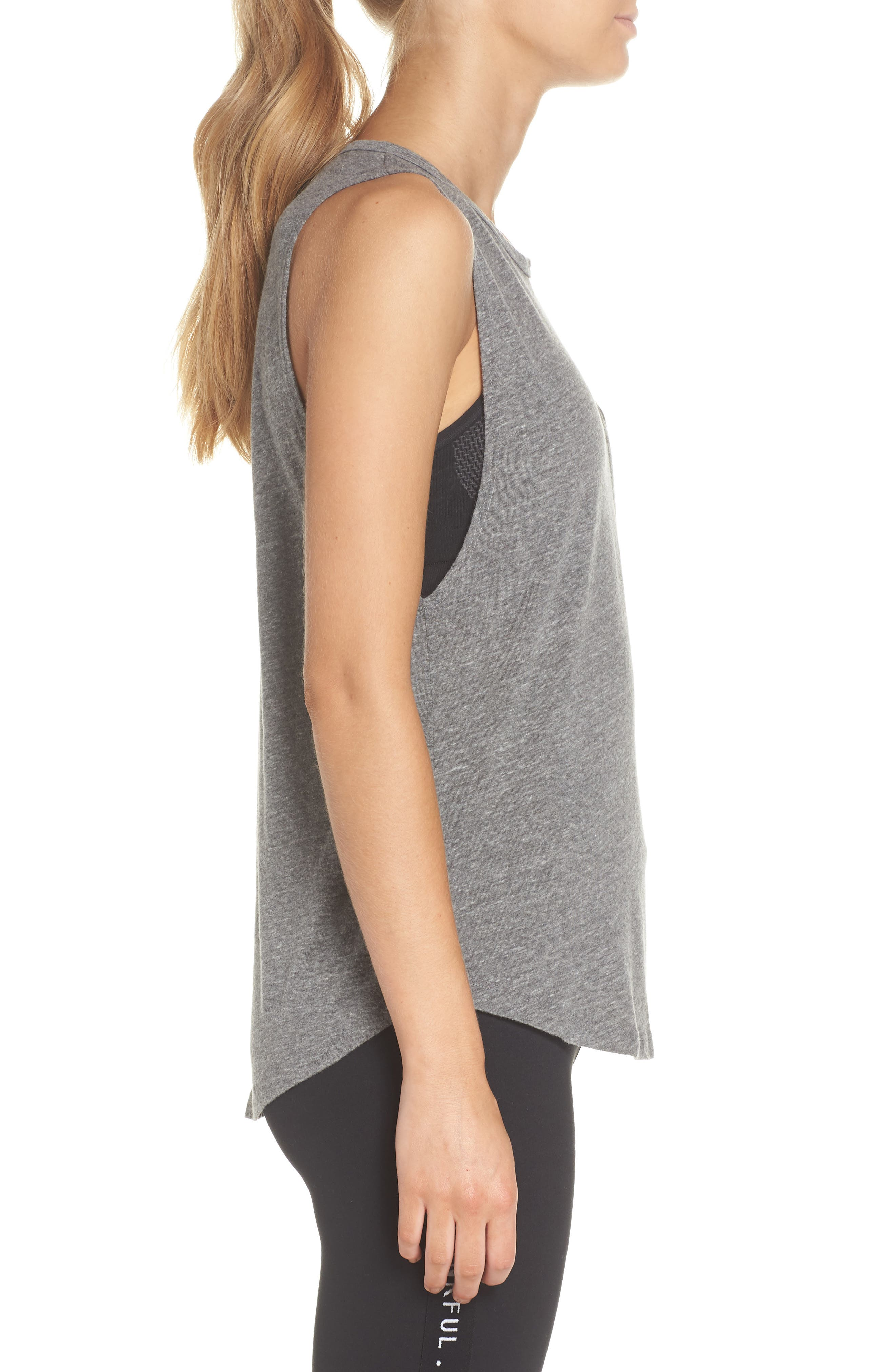 Riley Gym Tee Tank,                             Alternate thumbnail 3, color,                             Heather