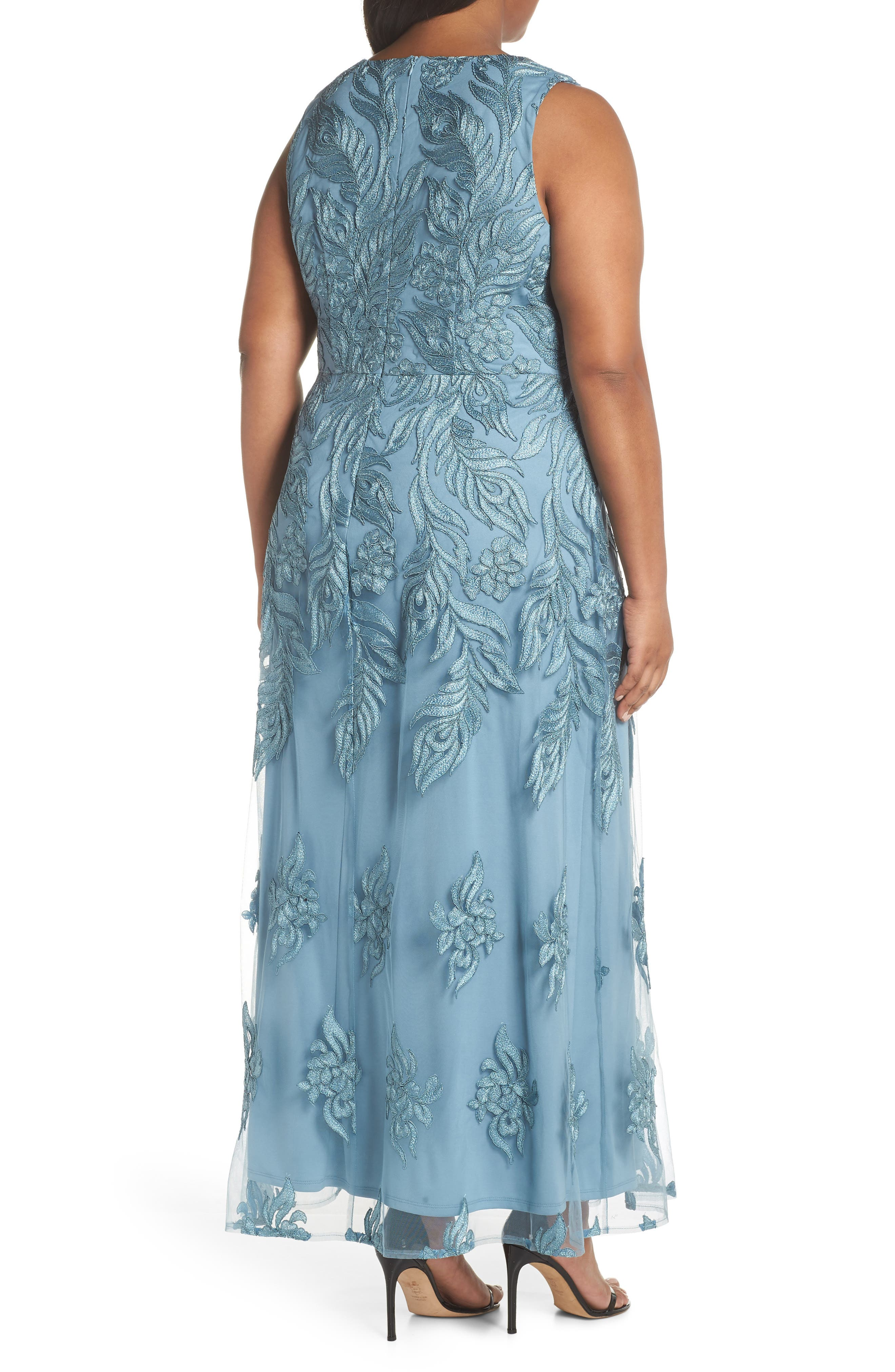 Beaded V-Neck Embroidered Mesh Gown,                             Alternate thumbnail 2, color,                             Seabreeze