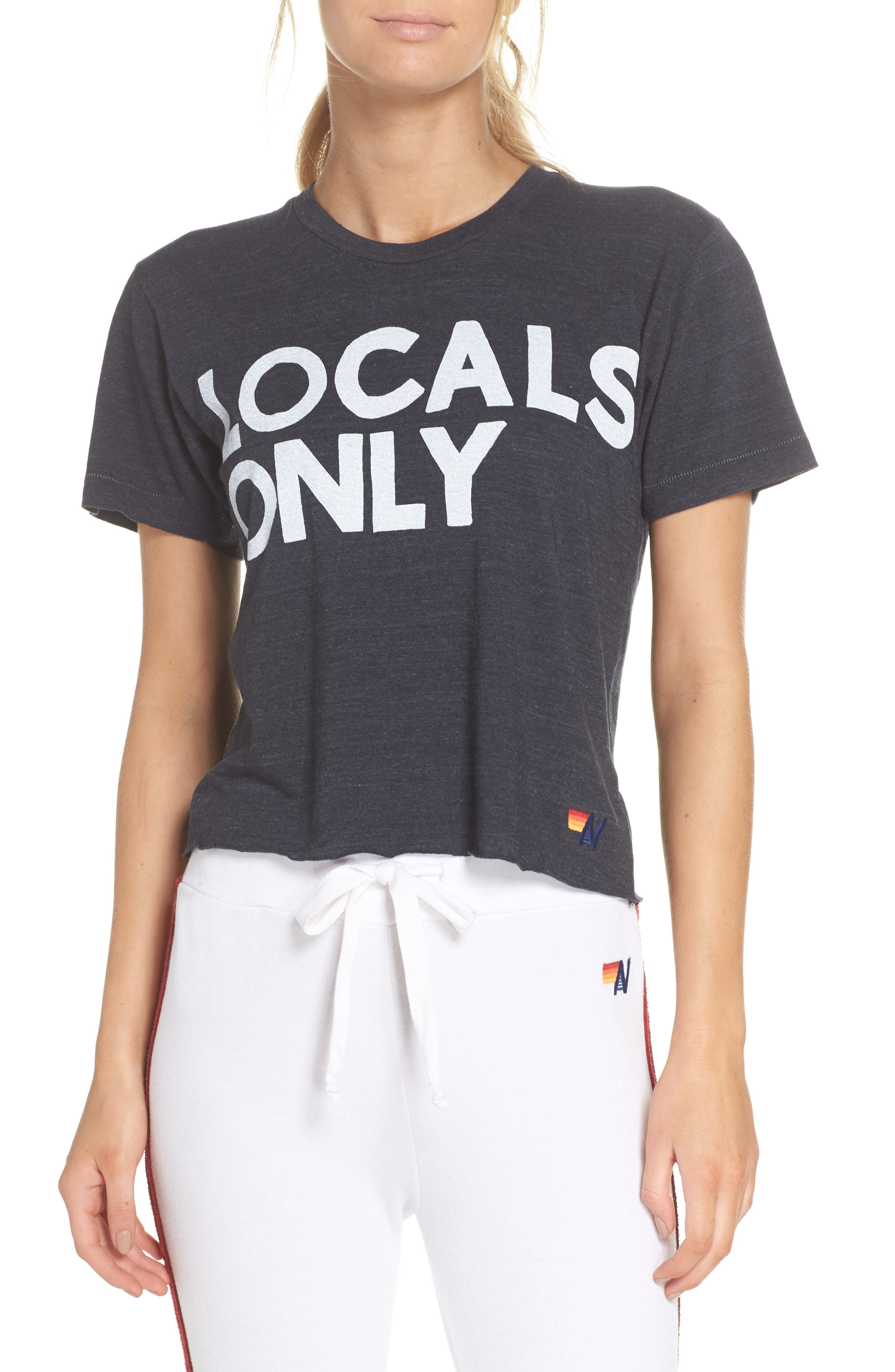 Locals Only Boyfriend Tee,                             Main thumbnail 1, color,                             Charcoal