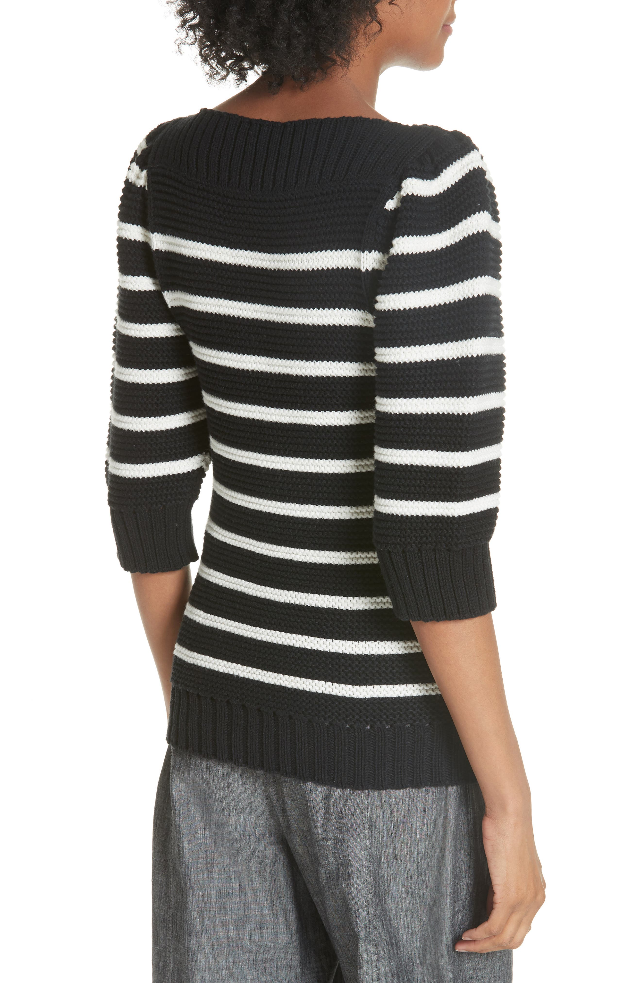 Puff Sleeve Stripe Sweater,                             Alternate thumbnail 2, color,                             Black Combo