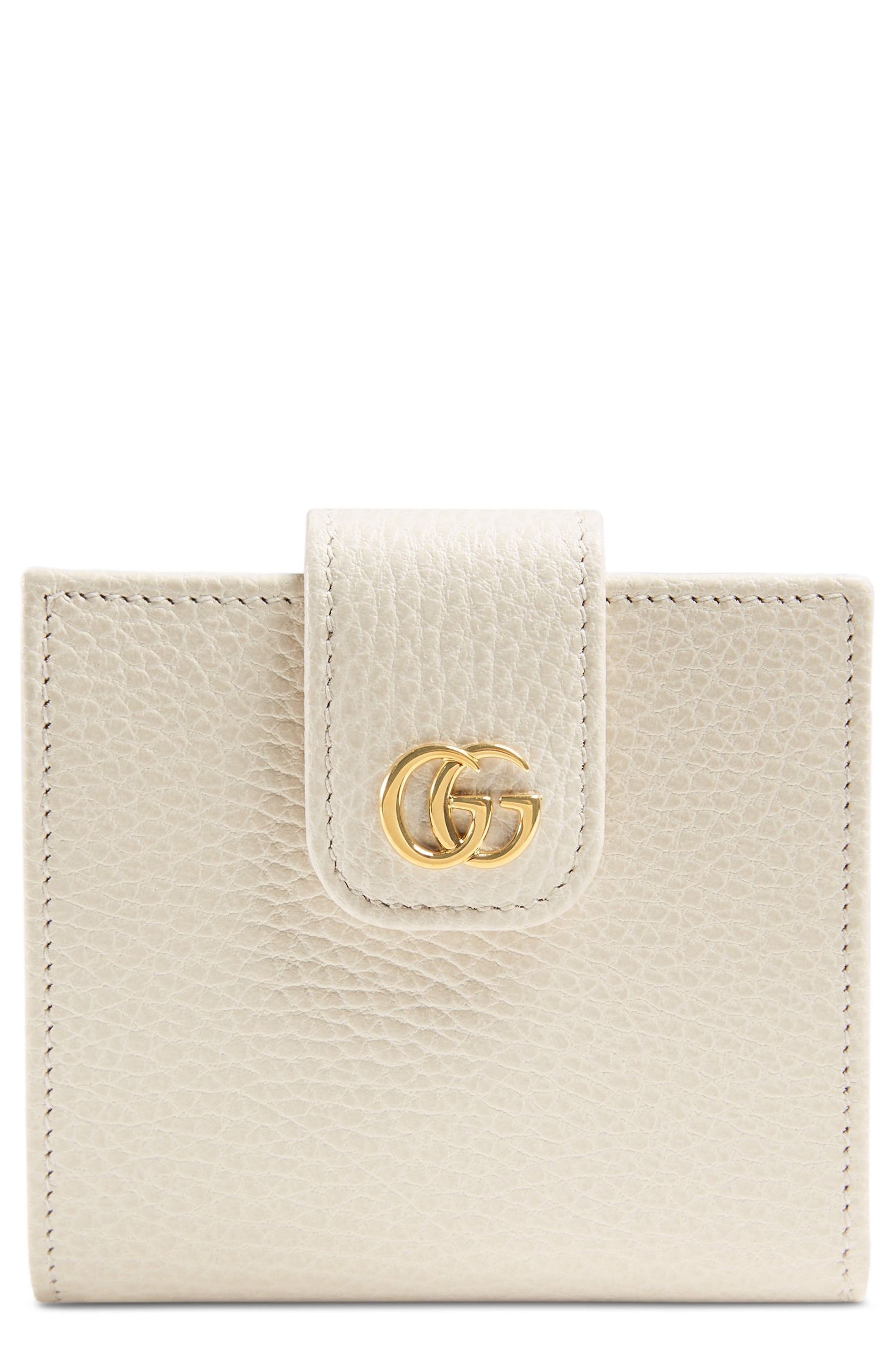 GG Marmont Leather Wallet,                         Main,                         color, Mystic White