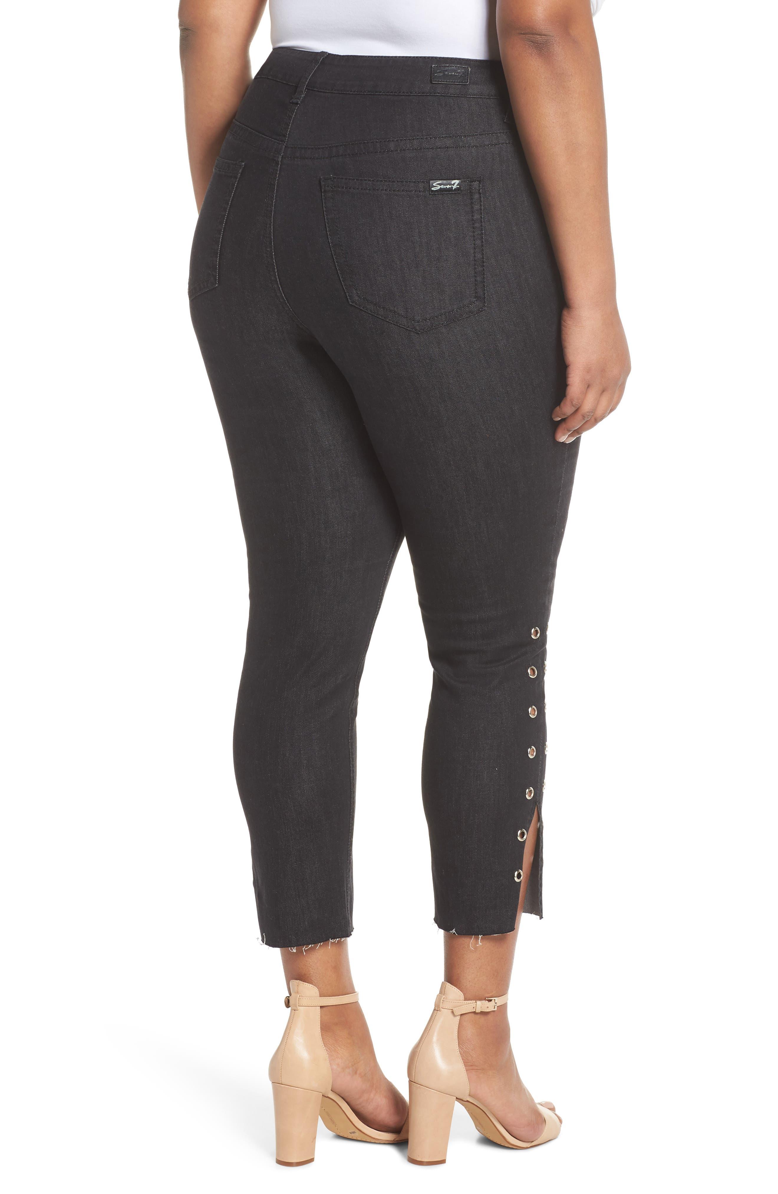 Grommet Slit Hem Ankle Skinny Jeans,                             Alternate thumbnail 2, color,                             Black