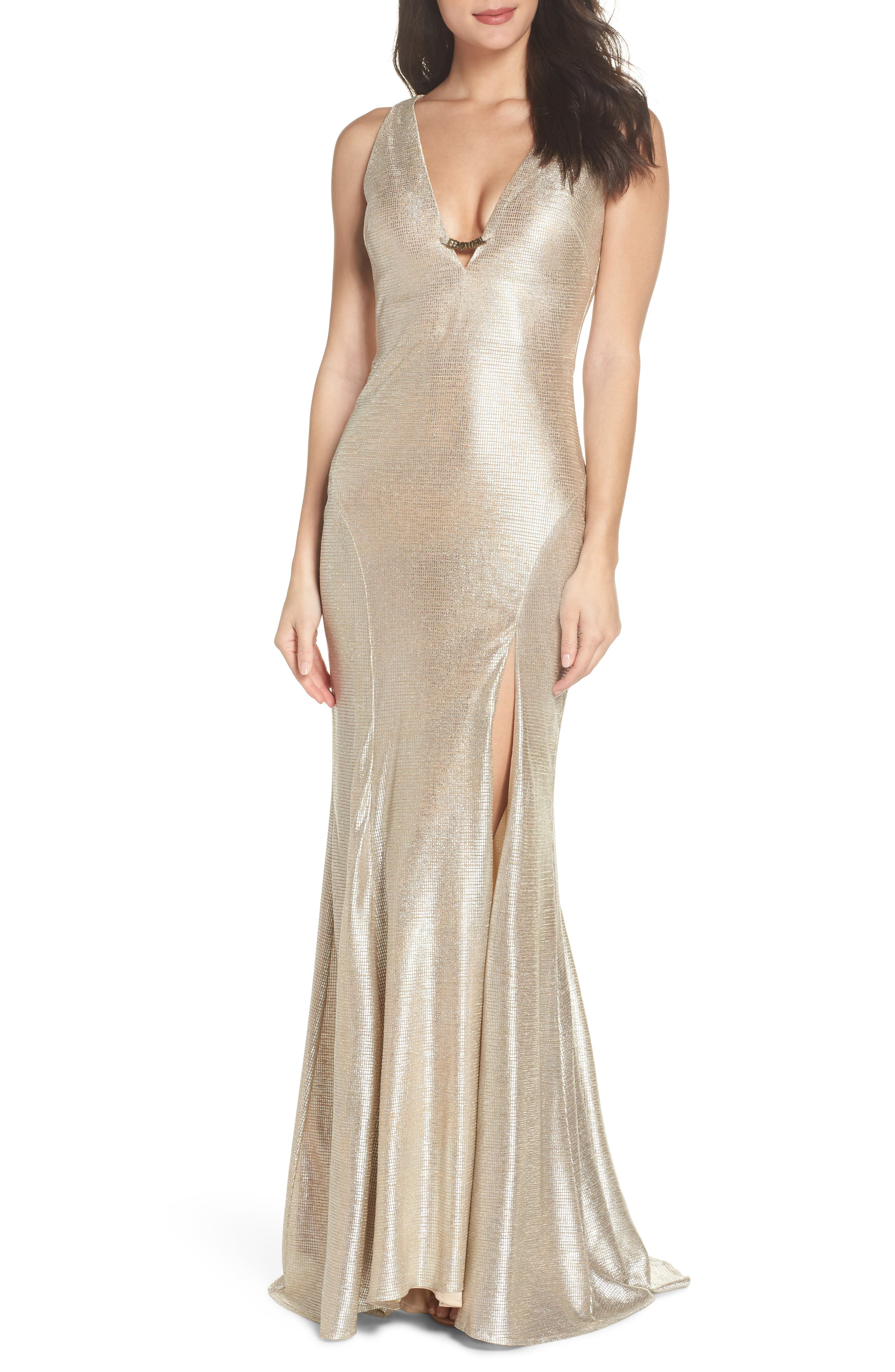 MAC DUGGAL SLEEVELESS FRONT SLIT GOWN