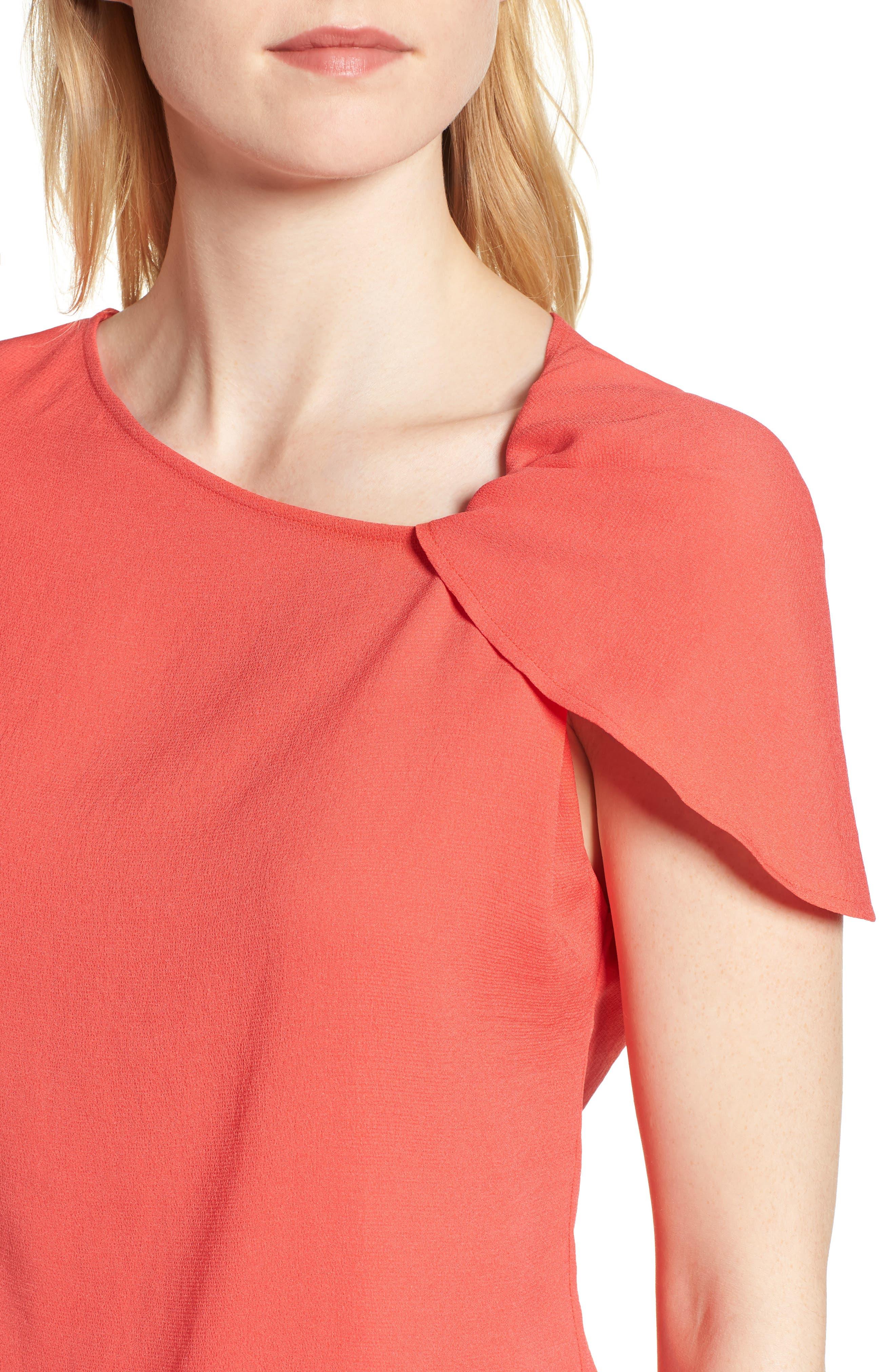 Asymmetrical Shoulder Top,                             Alternate thumbnail 4, color,                             Red Hibiscus