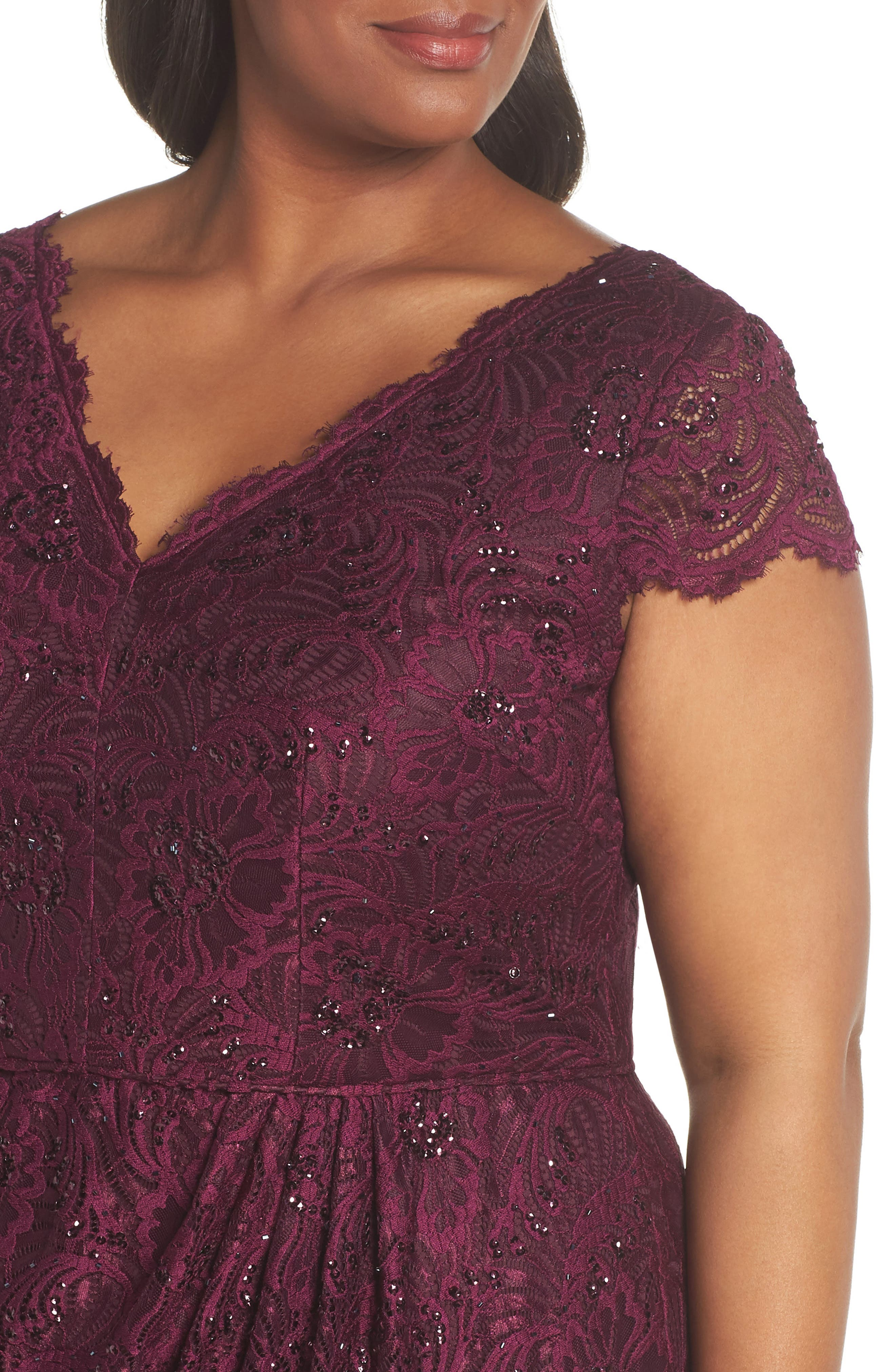 Embellished Stretch Lace Sheath Dress,                             Alternate thumbnail 4, color,                             Mulberry