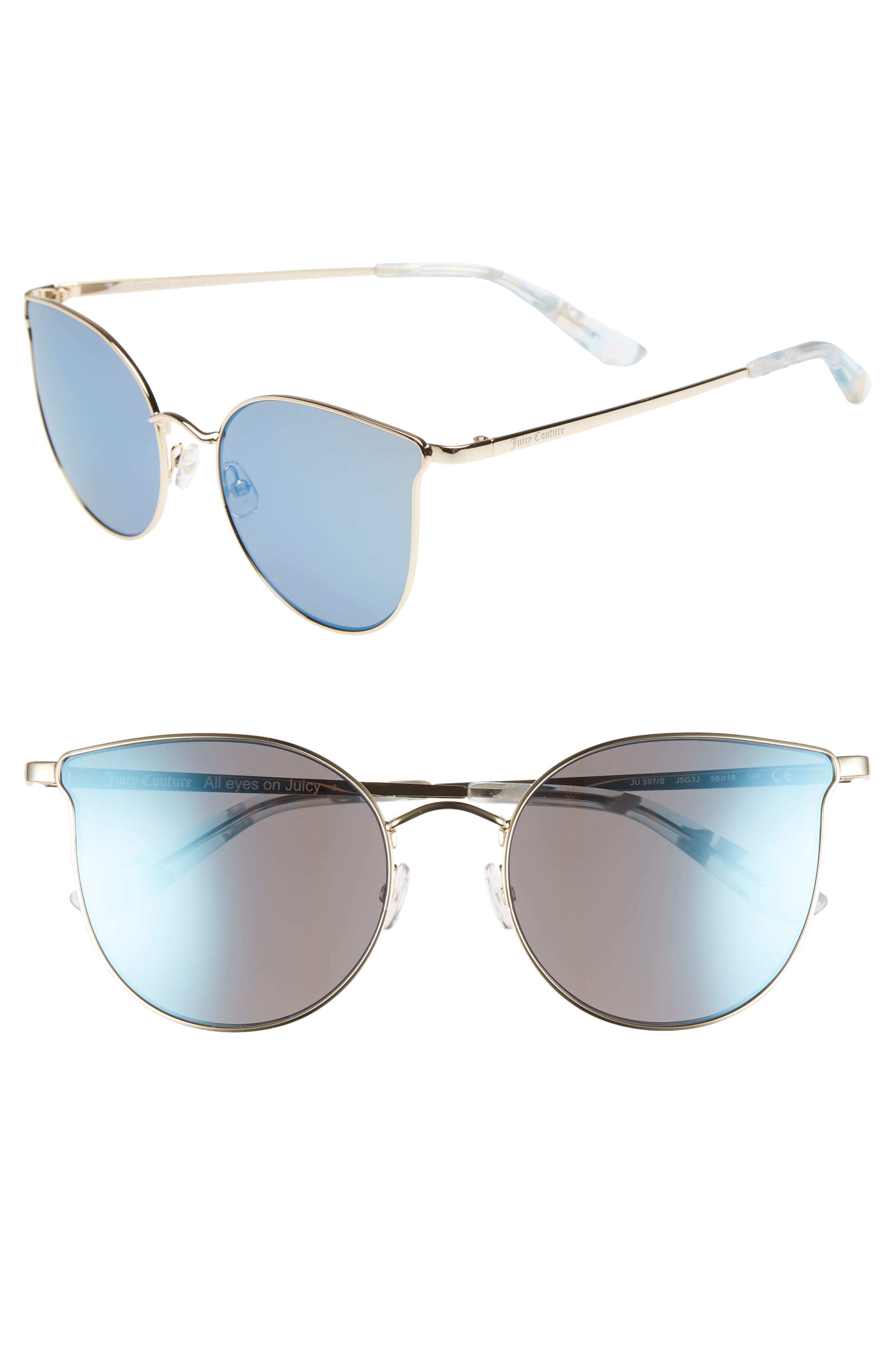 JUICY COUTURE 56MM METAL CAT EYE SUNGLASSES - GOLD