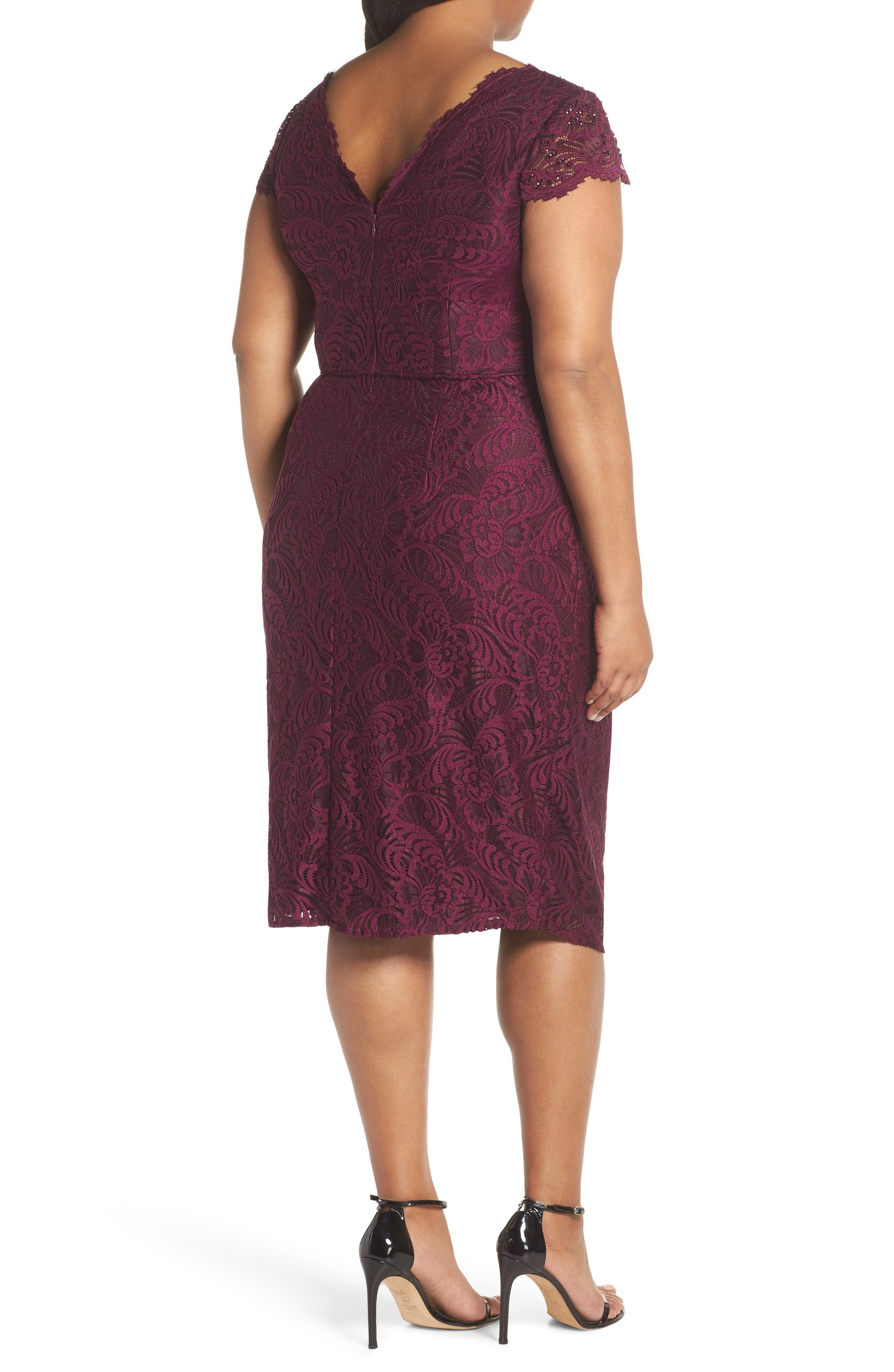 Embellished Stretch Lace Sheath Dress,                             Alternate thumbnail 2, color,                             Mulberry