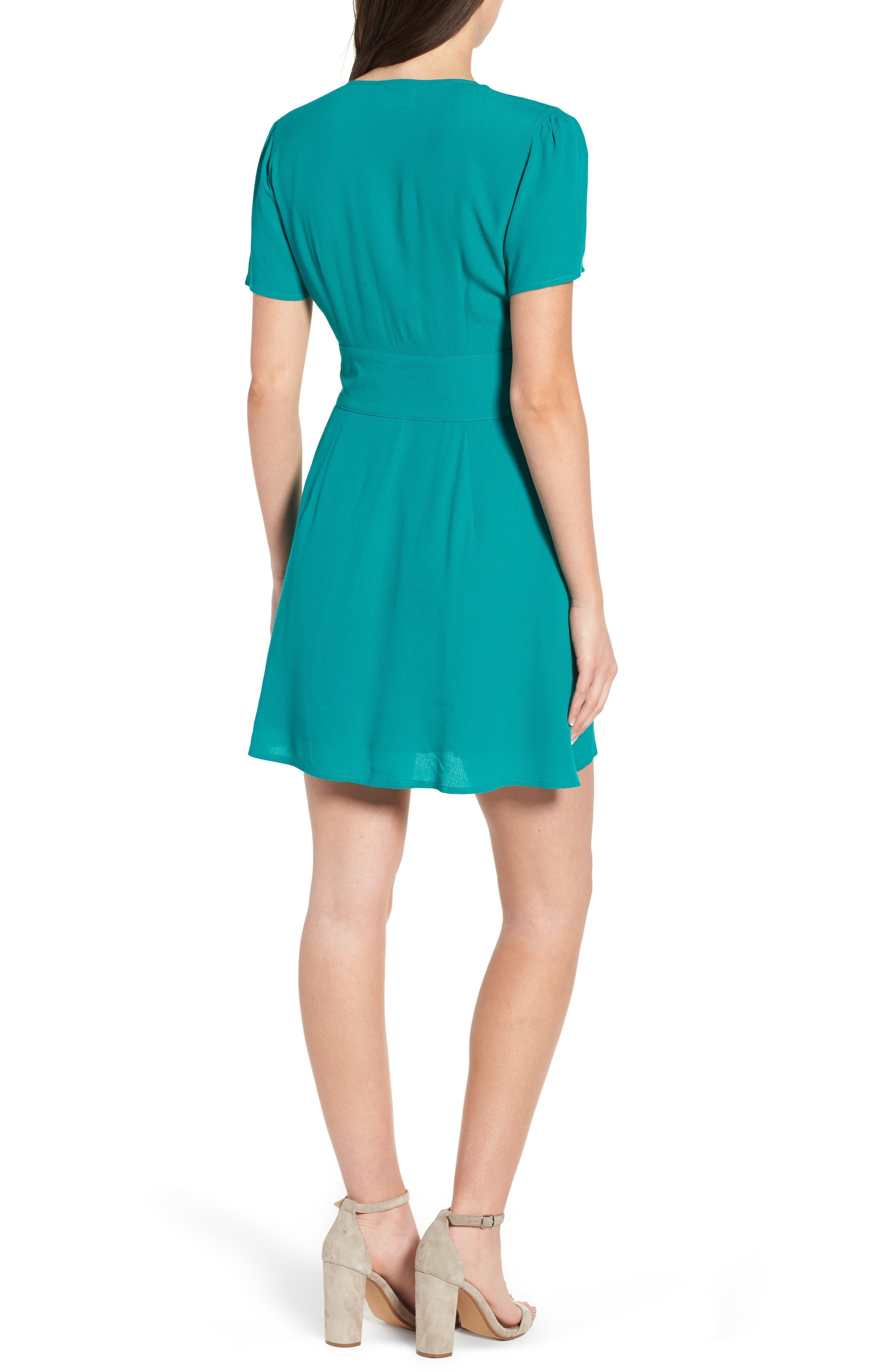 Verdera Plunging Minidress,                             Alternate thumbnail 3, color,                             Green