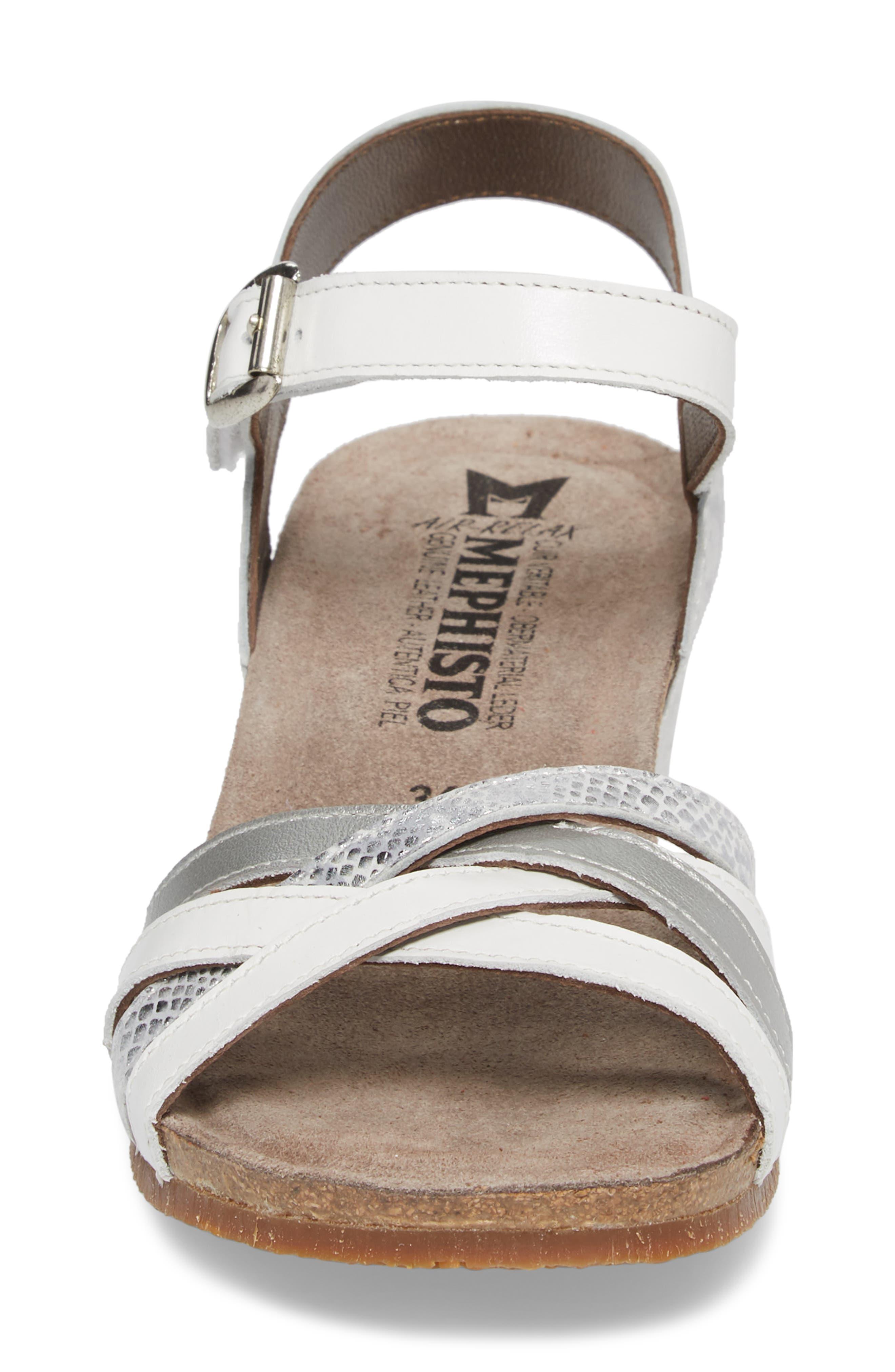Mado Wedge Sandal,                             Alternate thumbnail 4, color,                             White Leather