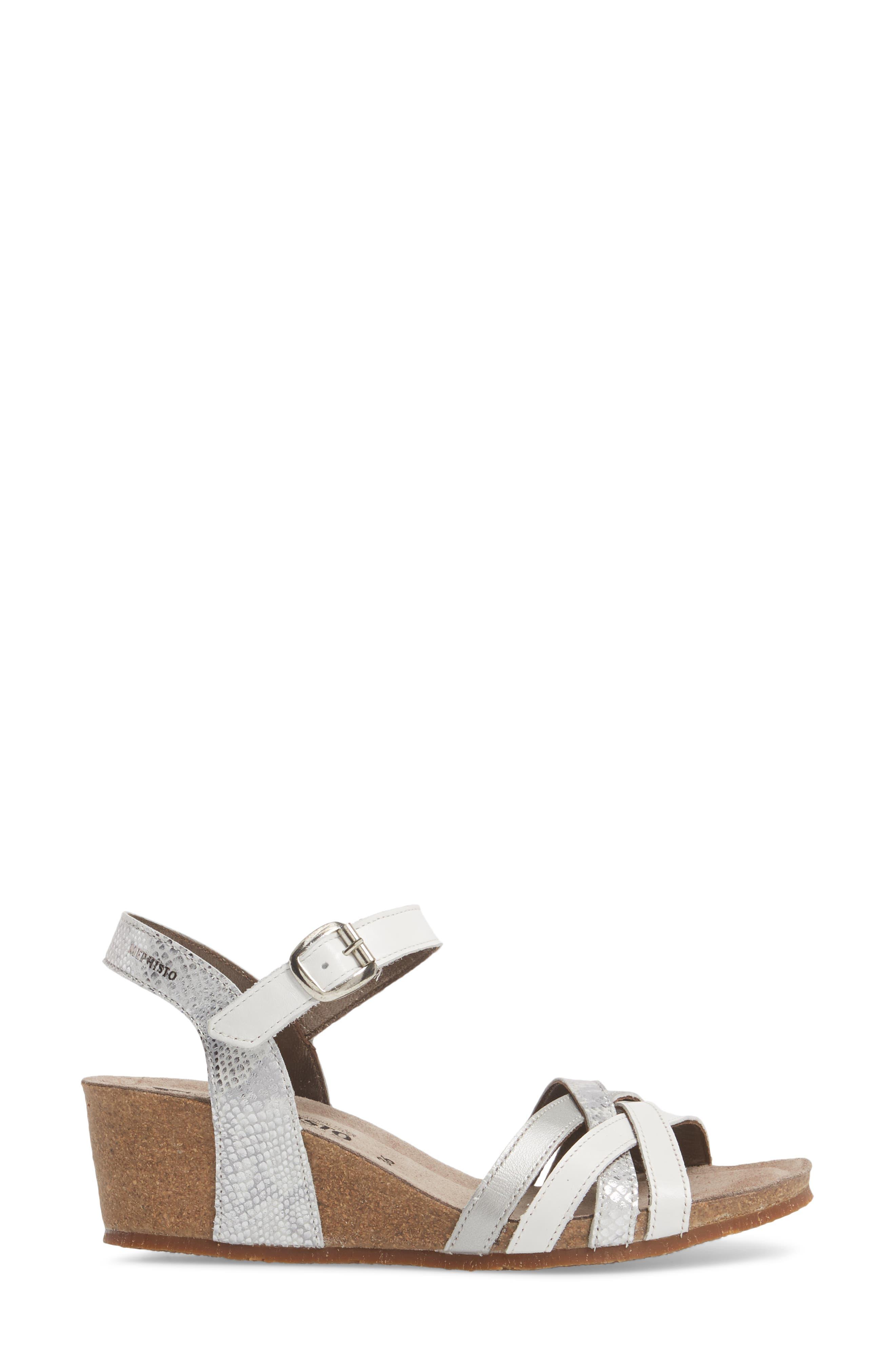 Mado Wedge Sandal,                             Alternate thumbnail 3, color,                             White Leather