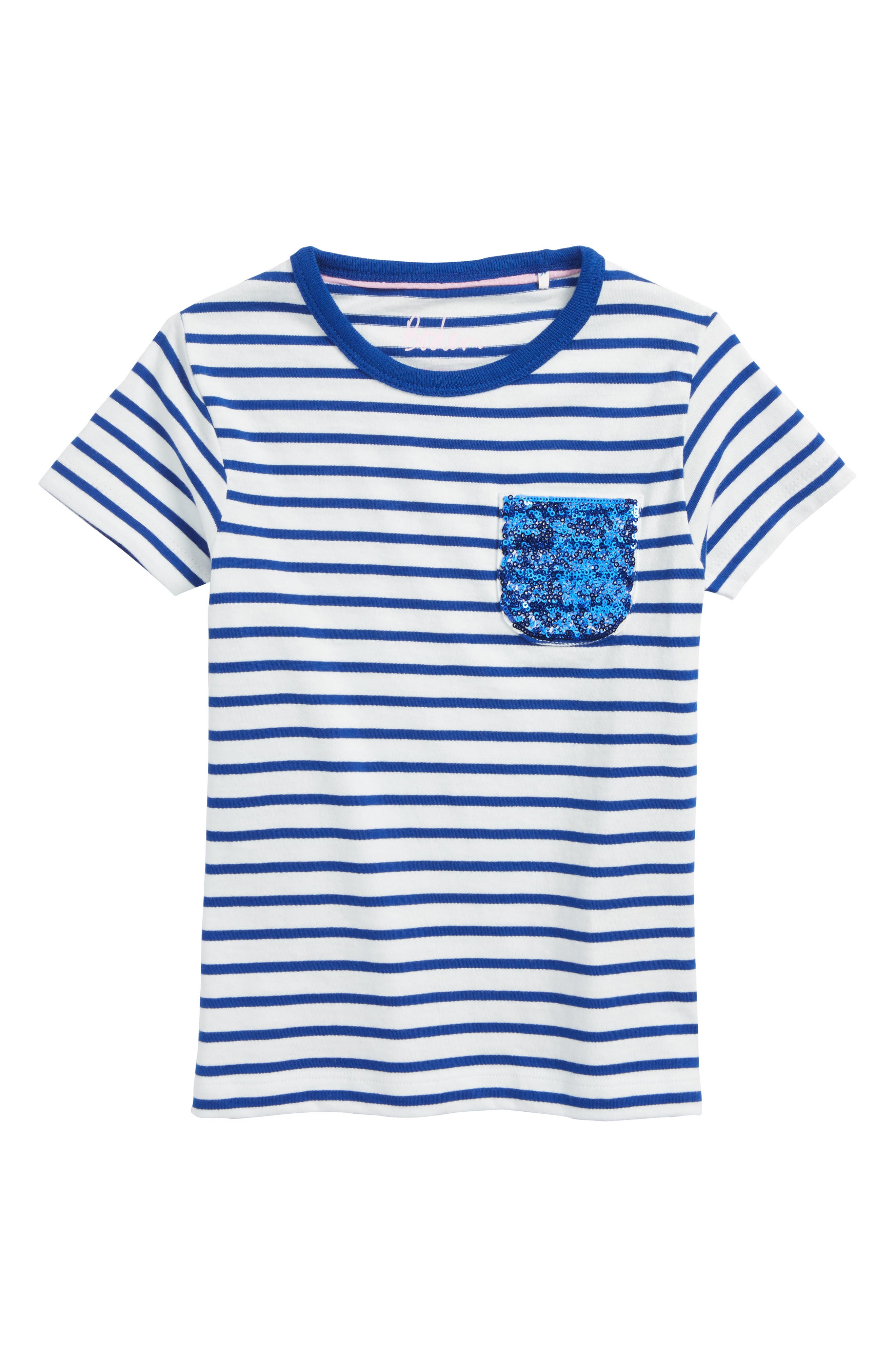Sequin Pocket Tee,                             Main thumbnail 1, color,                             Ivory/ Orion Blue