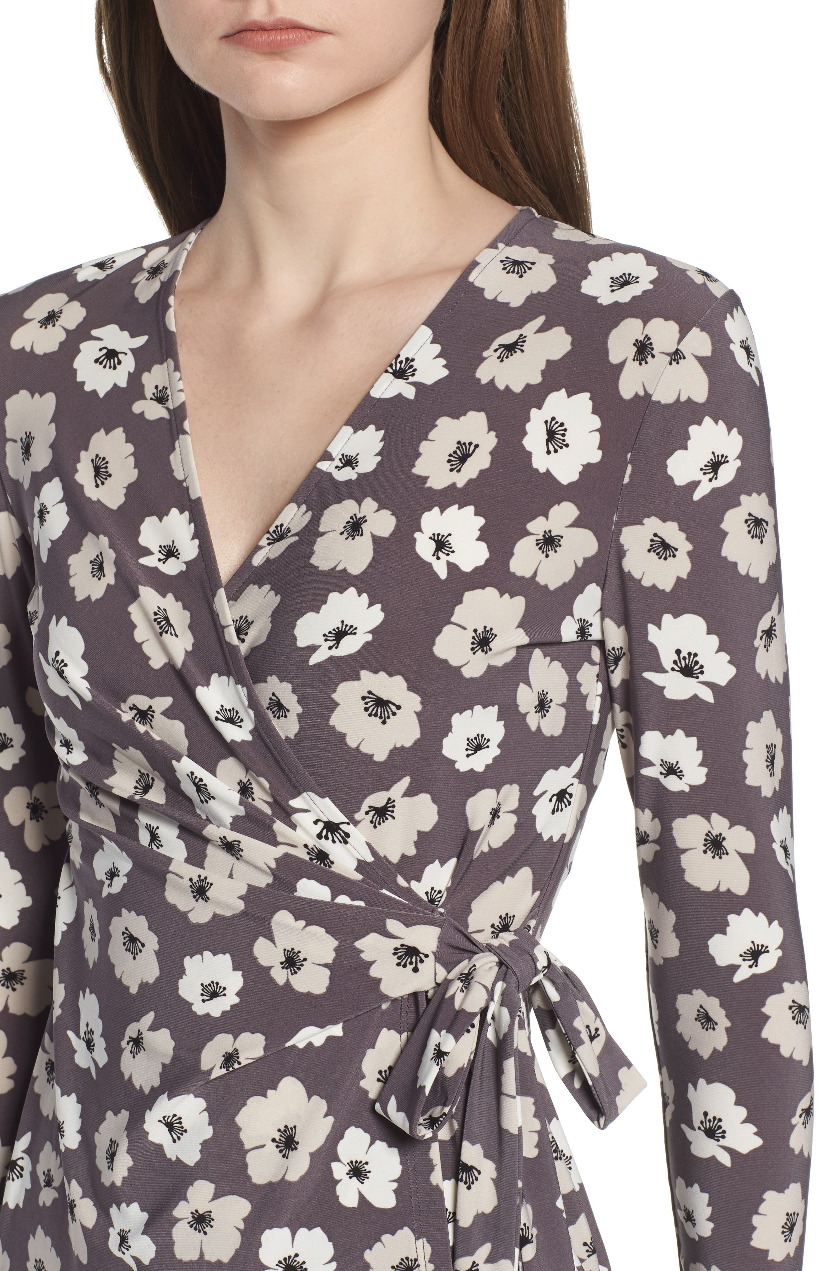 Faux Wrap Floral Top,                             Alternate thumbnail 4, color,                             Nantucket Grey/ Oyster Shell