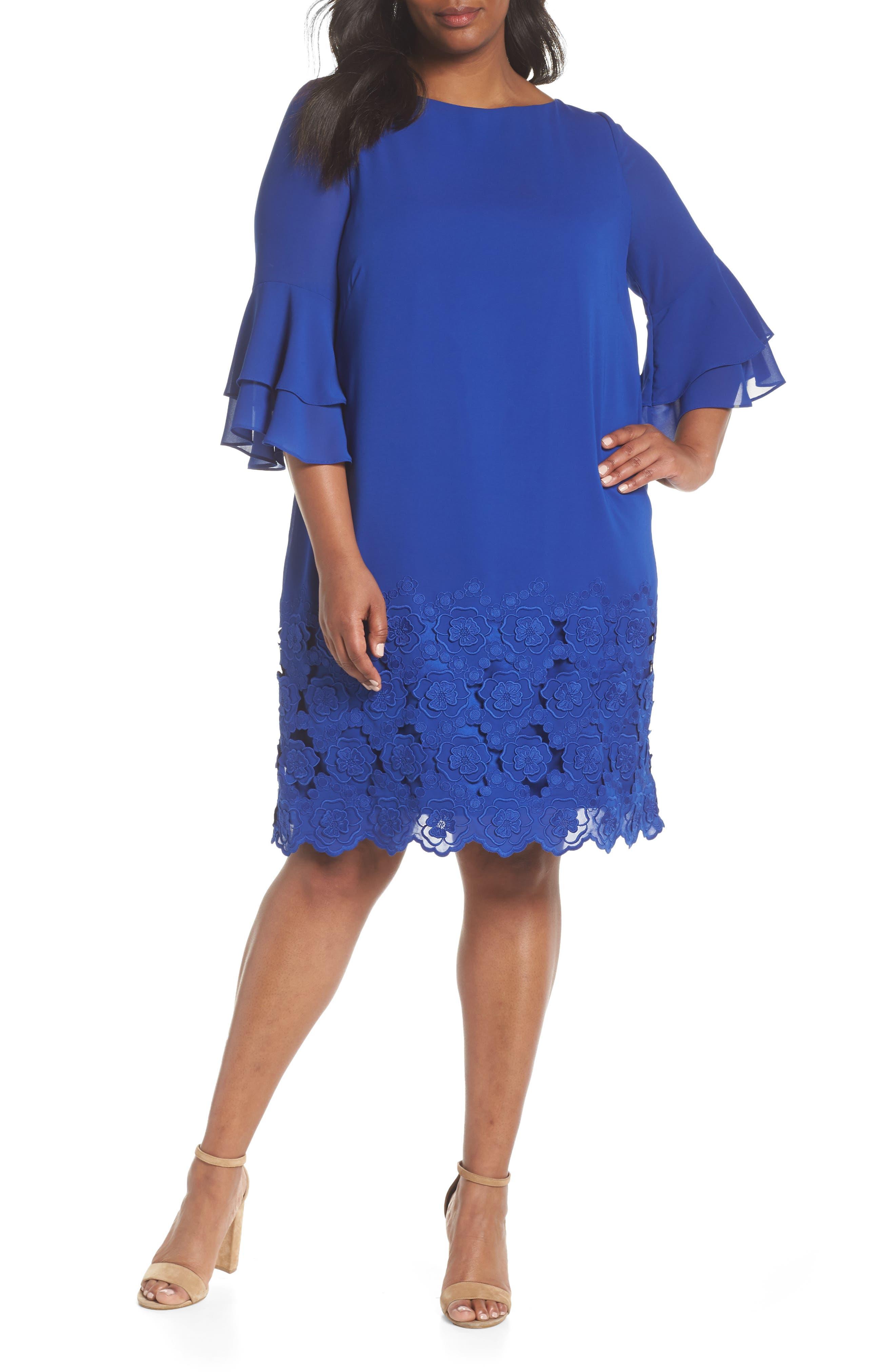 Tahari Embroidered Ruffle Sleeve Shift Dress (Plus Size)