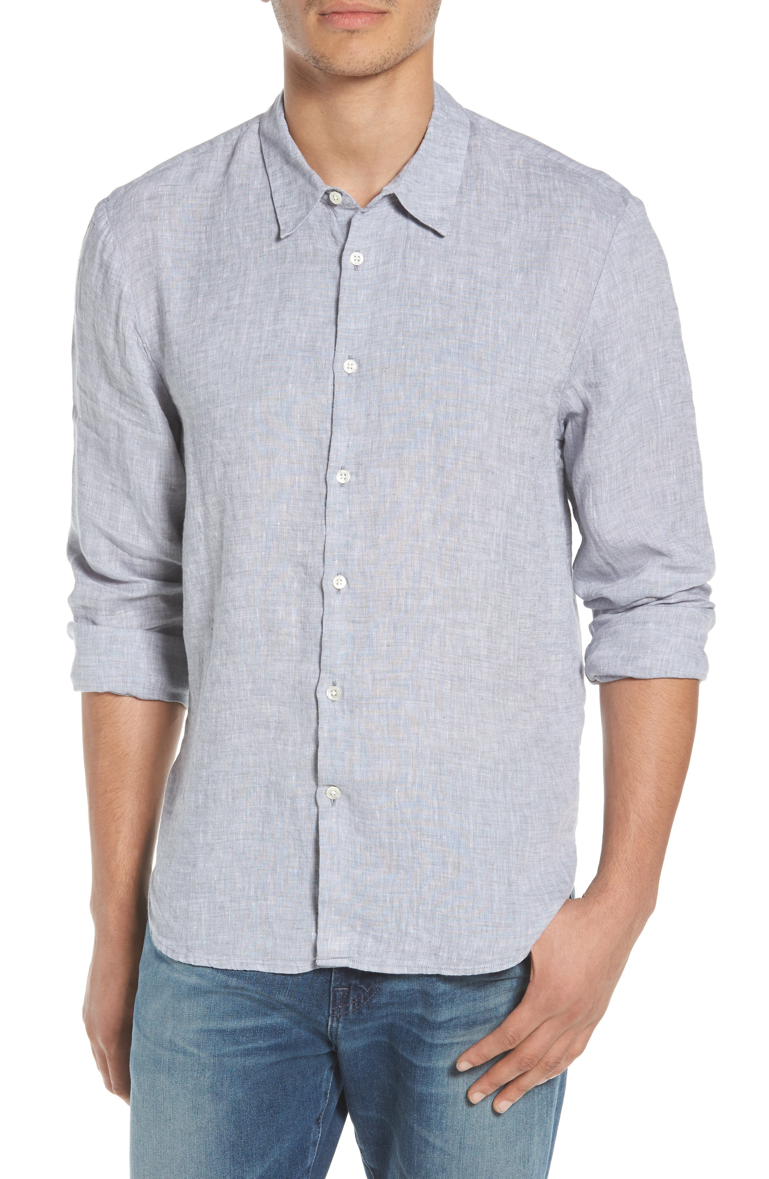 Slim Fit Linen Sport Shirt,                         Main,                         color, Chambray