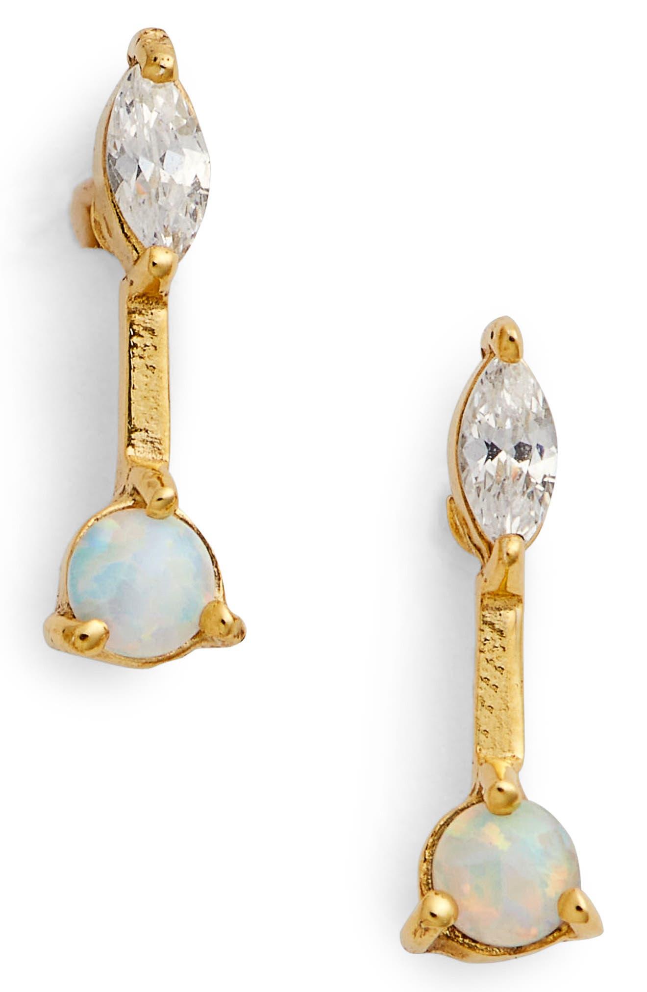 Sydney Linear Stud Earrings,                             Main thumbnail 1, color,                             Gold