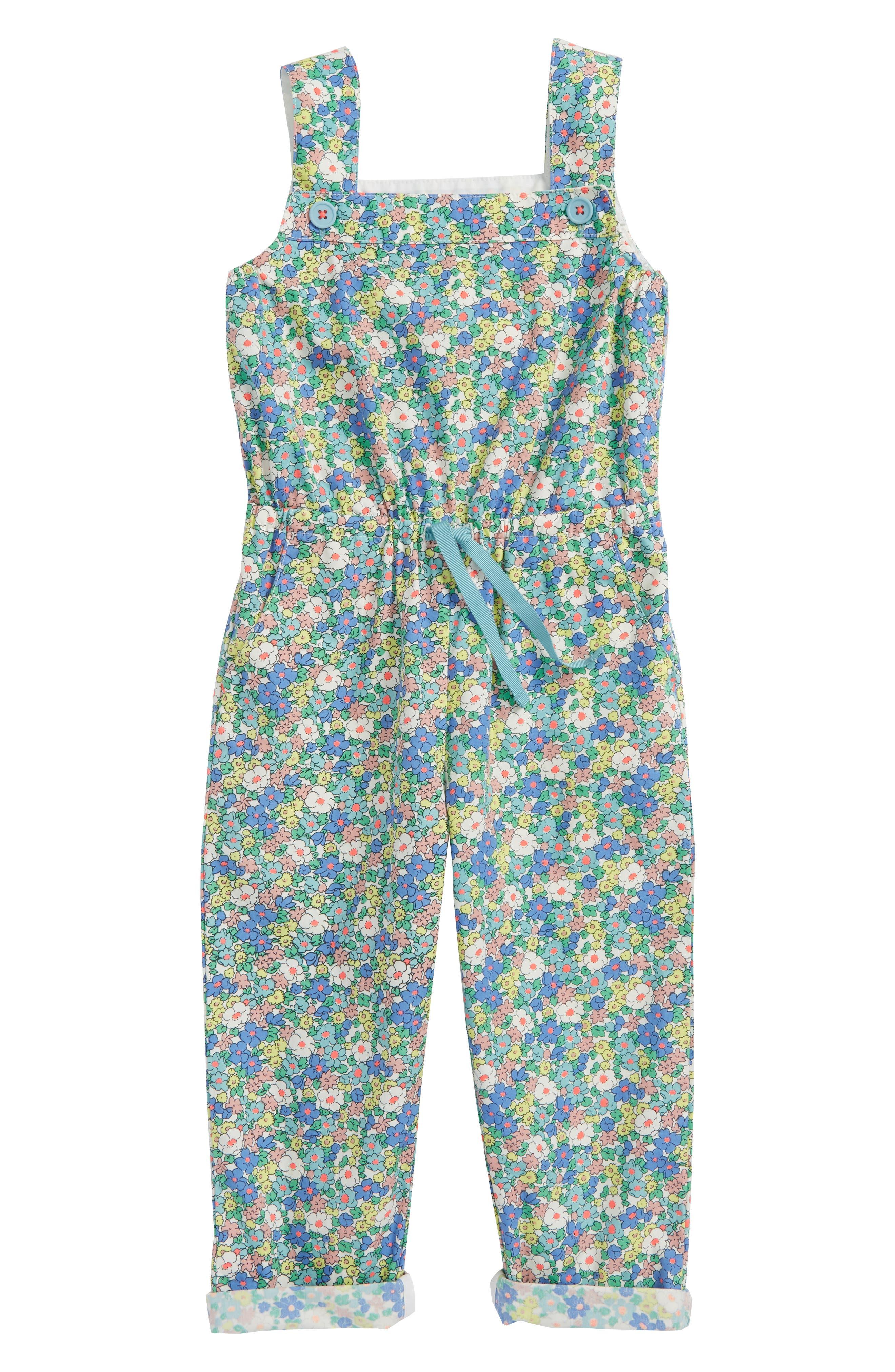 Floral Cotton Jumpsuit,                         Main,                         color, Camper Blue Vintage