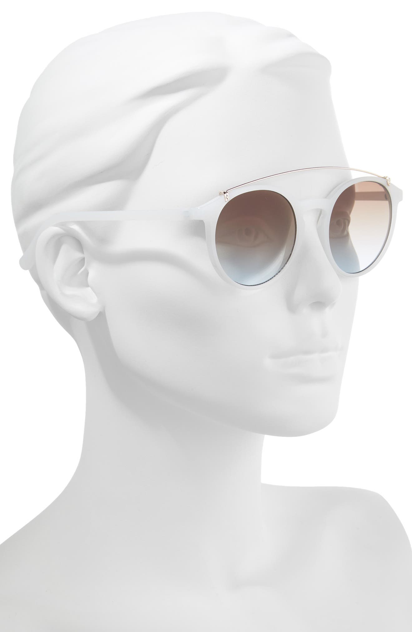 Round Aviator Sunglasses,                             Alternate thumbnail 2, color,                             Milky White/ Gold