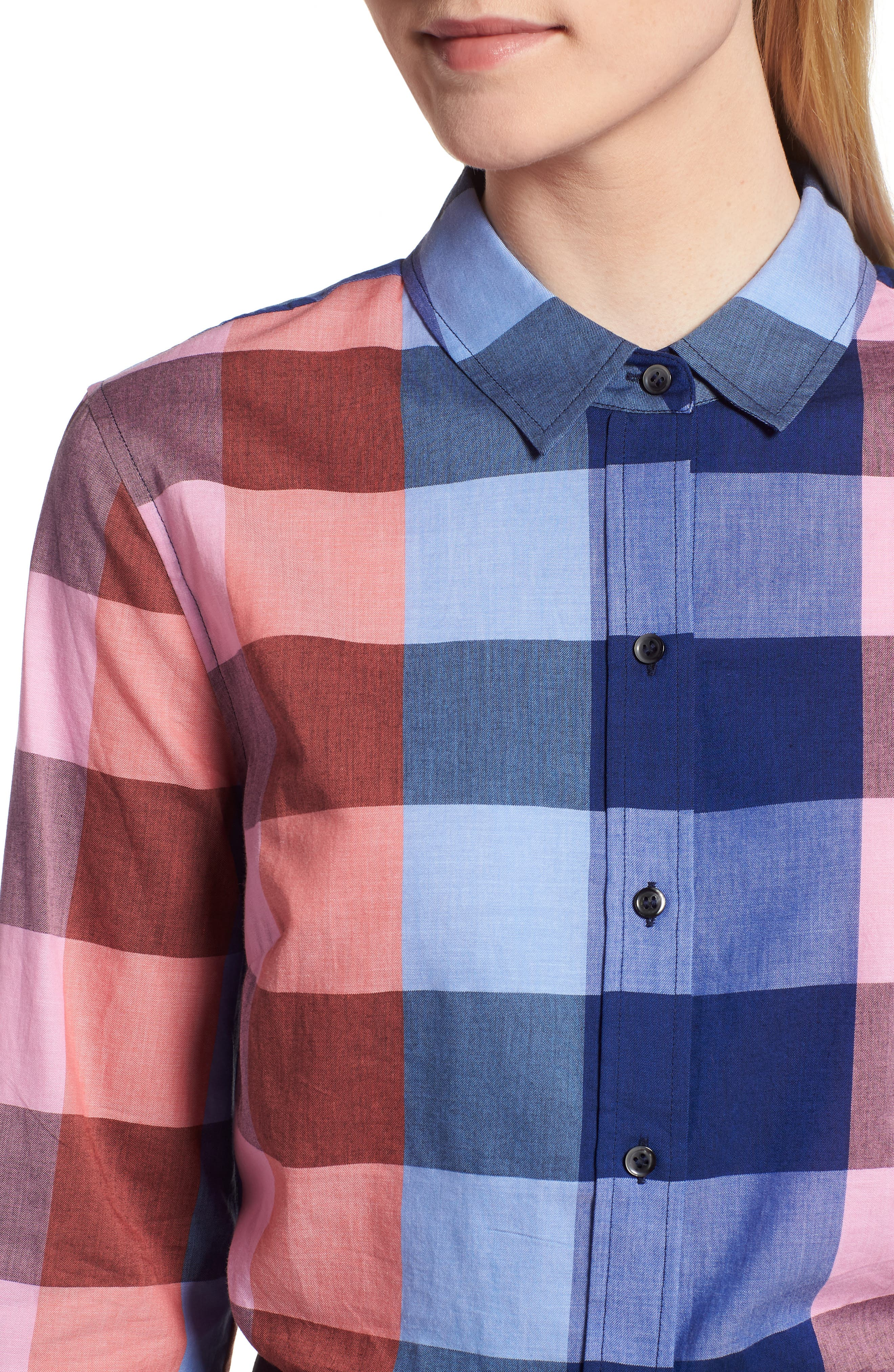 Plaid Cotton Button-Down Shirt,                             Alternate thumbnail 4, color,                             Blue- Pink Plaid