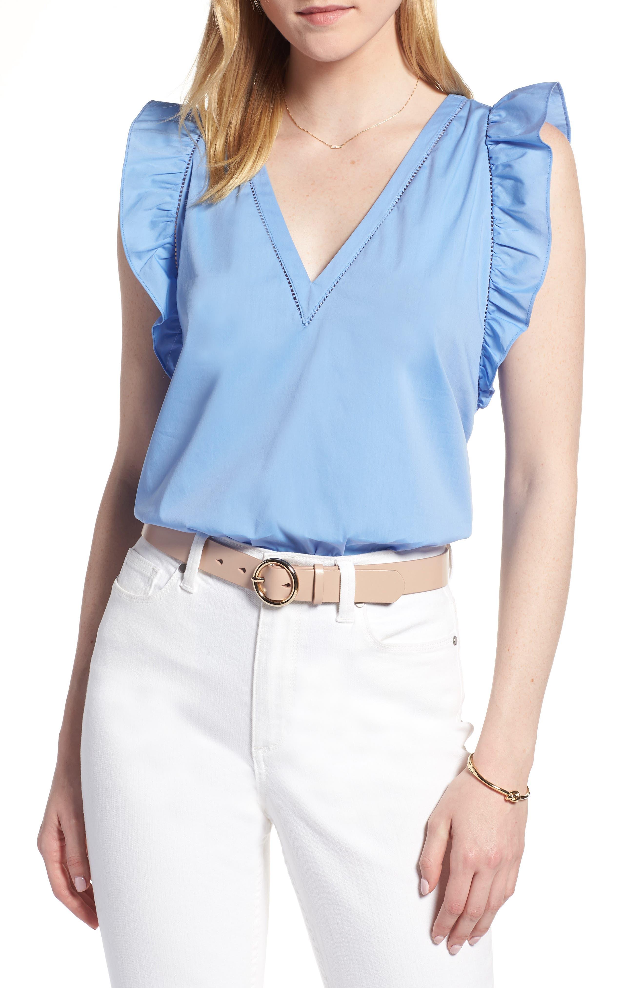 Ruffle Cotton Poplin Blend Top,                         Main,                         color, Blue Cornflower