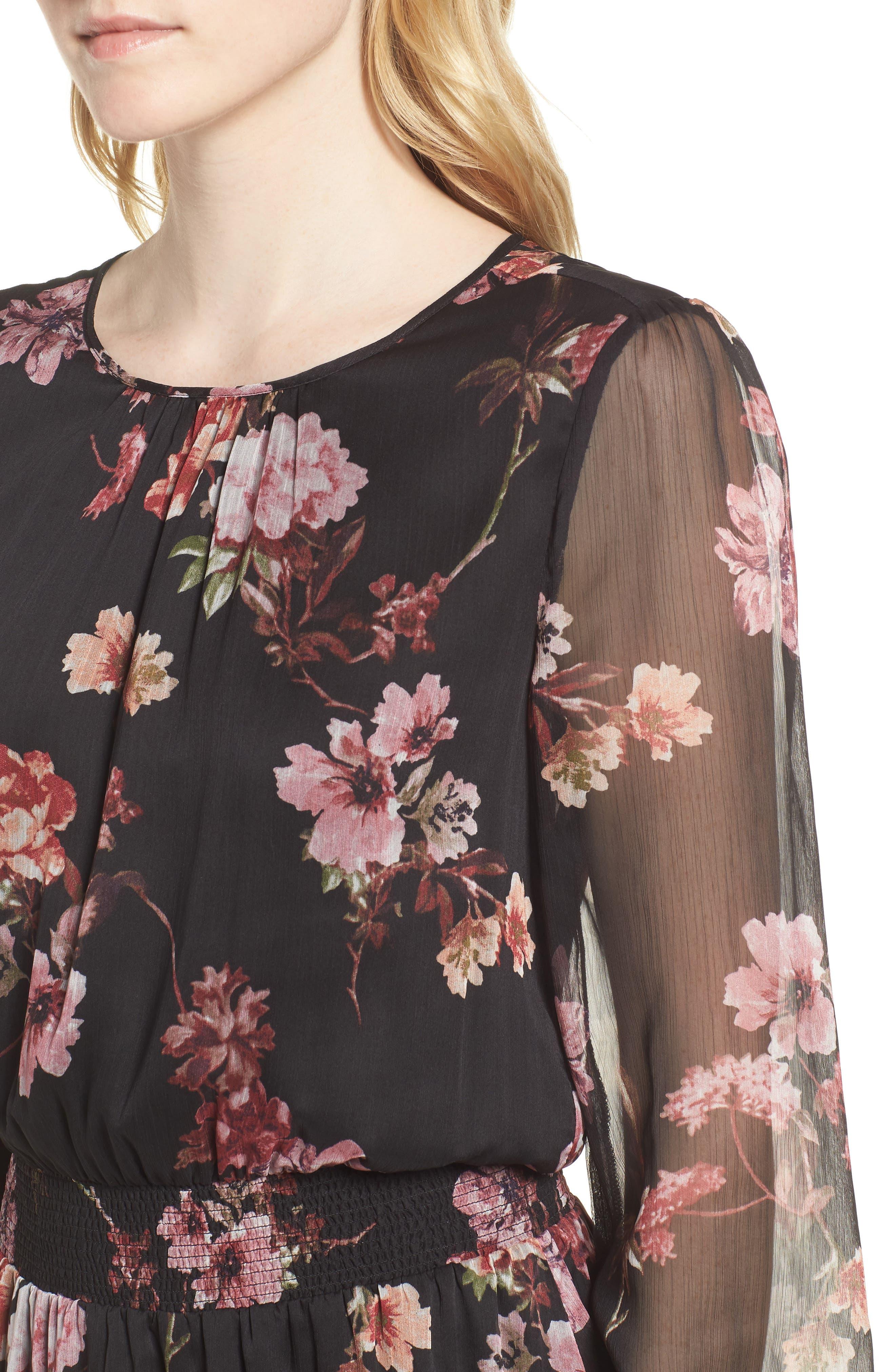 Garden Fleur Chiffon Blouson Dress,                             Alternate thumbnail 4, color,                             Rich Black