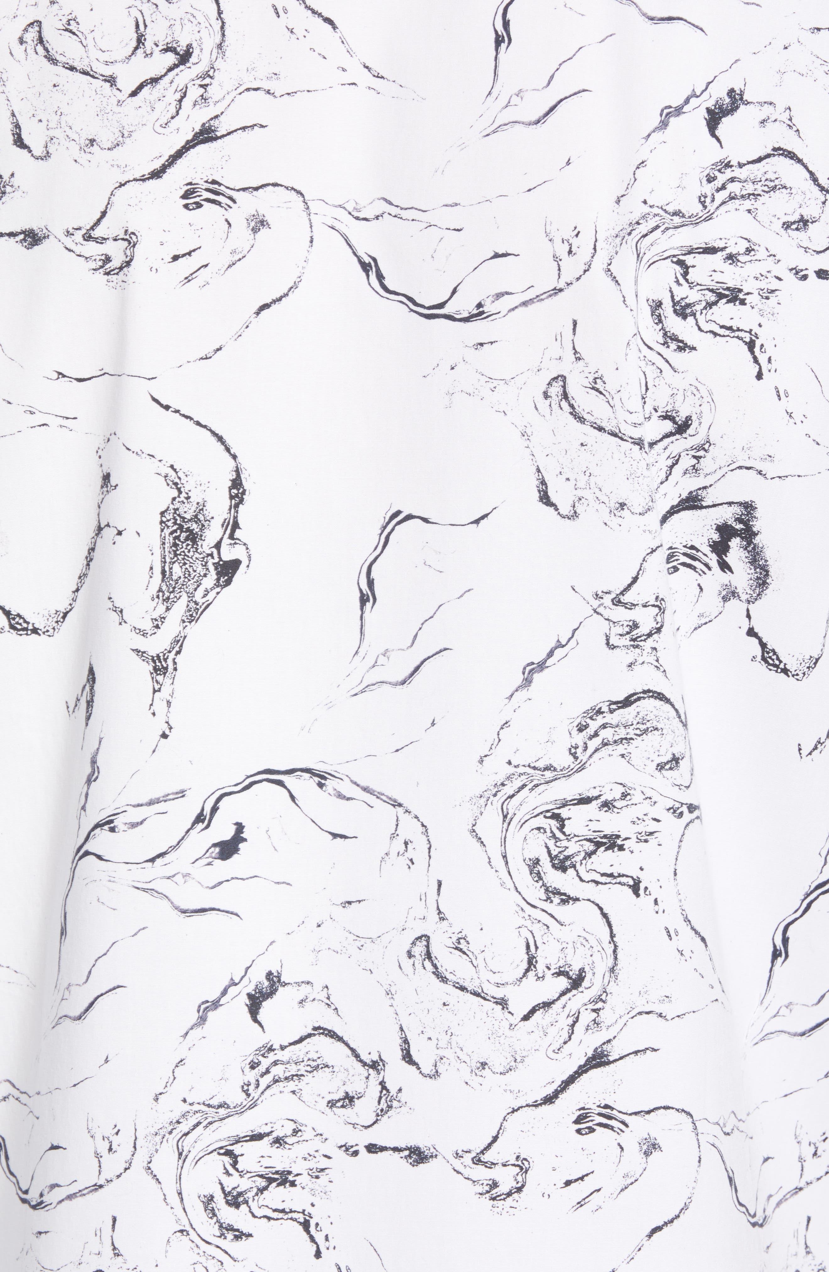 Trim Fit Stretch Print Short Sleeve Sport Shirt,                             Alternate thumbnail 5, color,                             White Marble Print