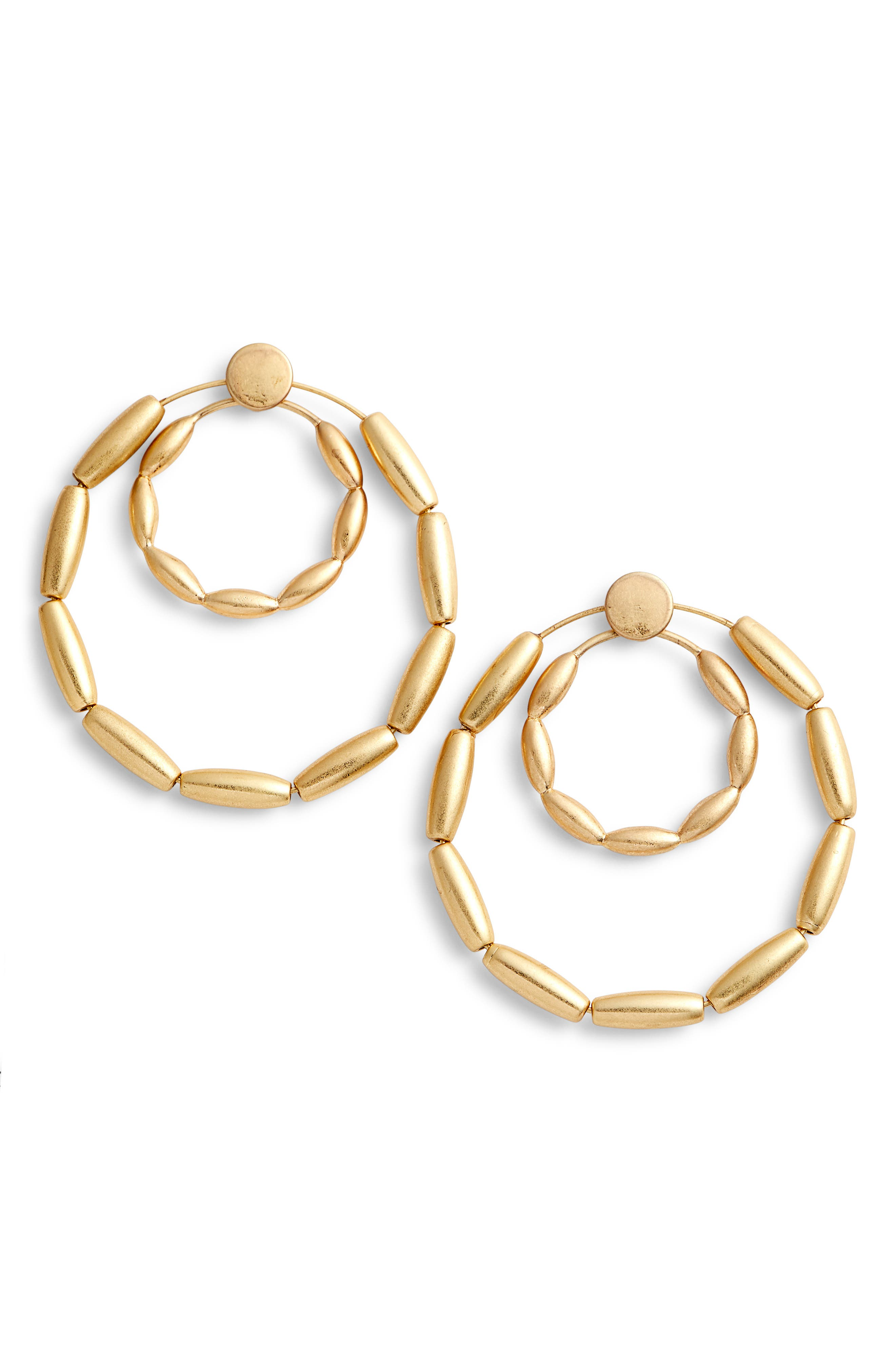 Sadie Front Facing Double Hoop Earrings,                             Main thumbnail 1, color,                             Gold