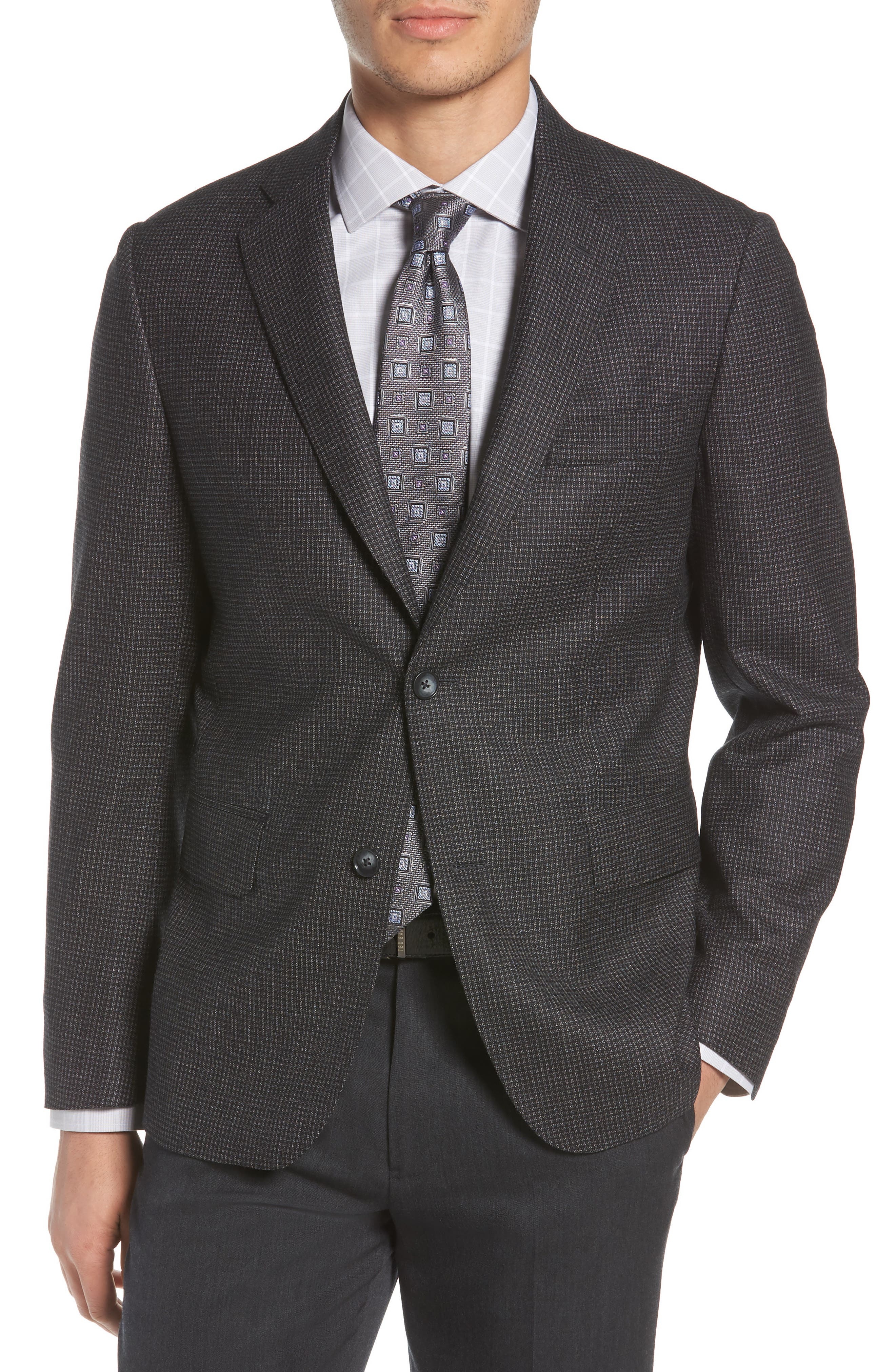 Traditional Fit Microcheck Wool Sport Coat,                             Main thumbnail 1, color,                             Black