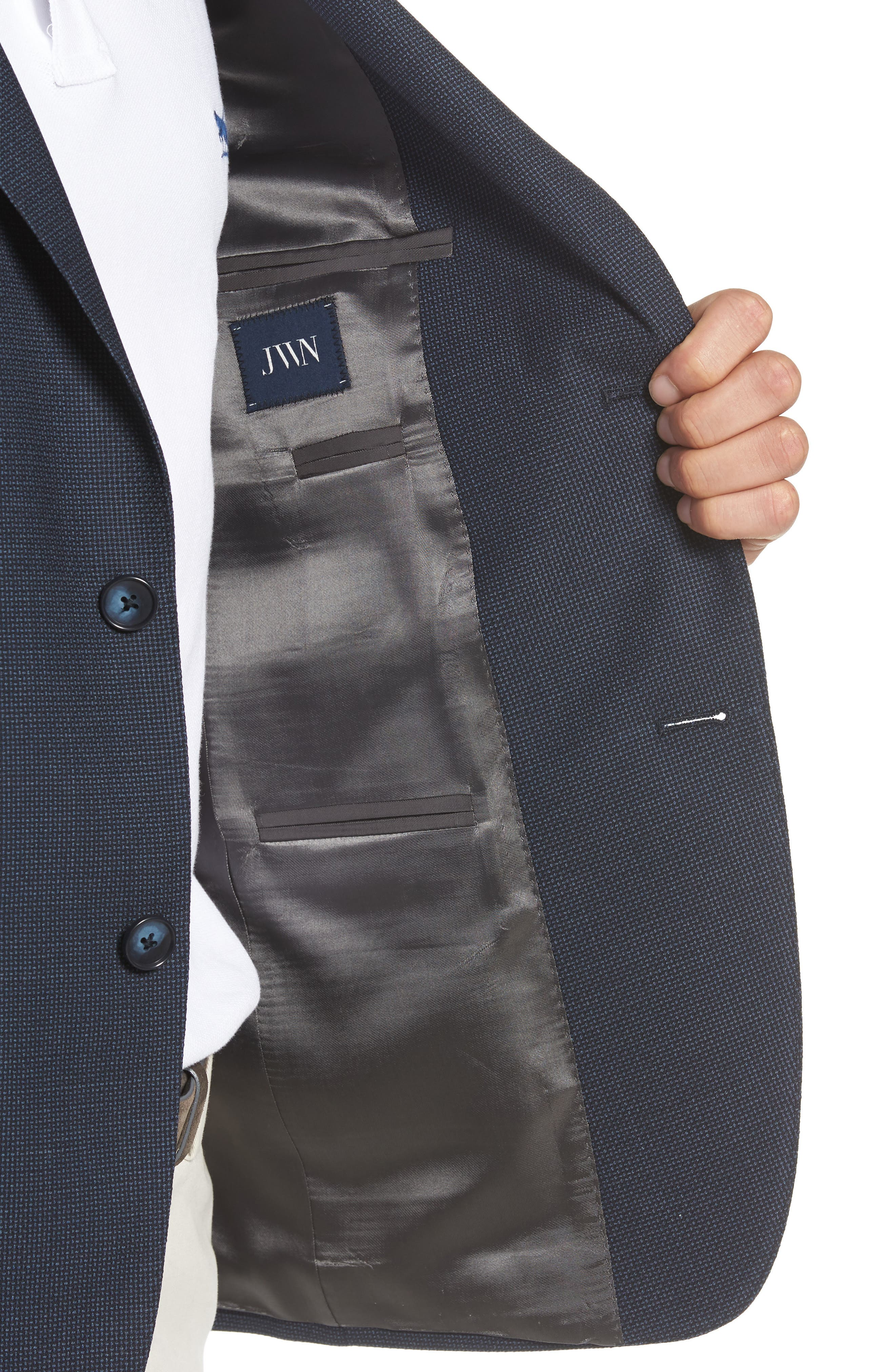 Traditional Fit Basket Weave Wool Sport Coat,                             Alternate thumbnail 4, color,                             Navy